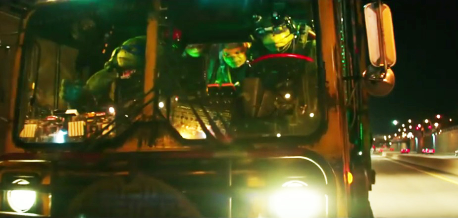 The Teenage Mutant Ninja Turtles cruise down the Kensington Expressway, known here as the 33. (YouTube trailer screenshot)