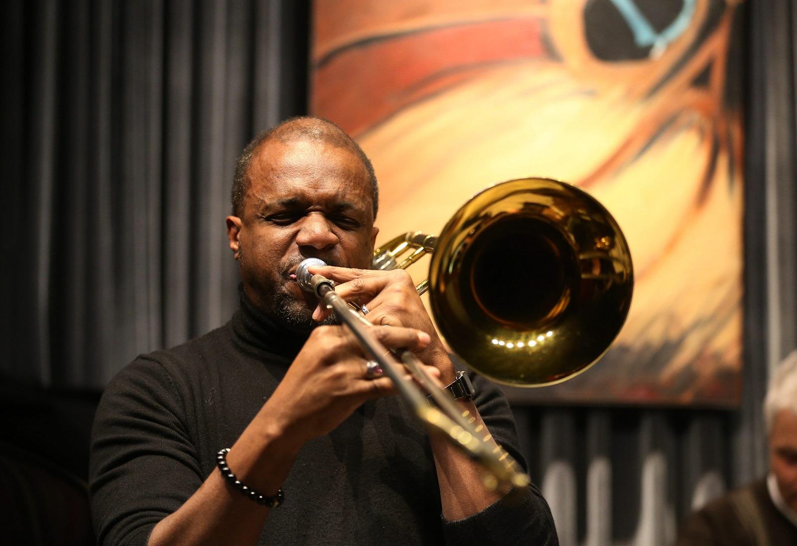 Rick Fleming plays the trombone for the Mark Filsinger Eleventet.  (Sharon Cantillon/Buffalo News)