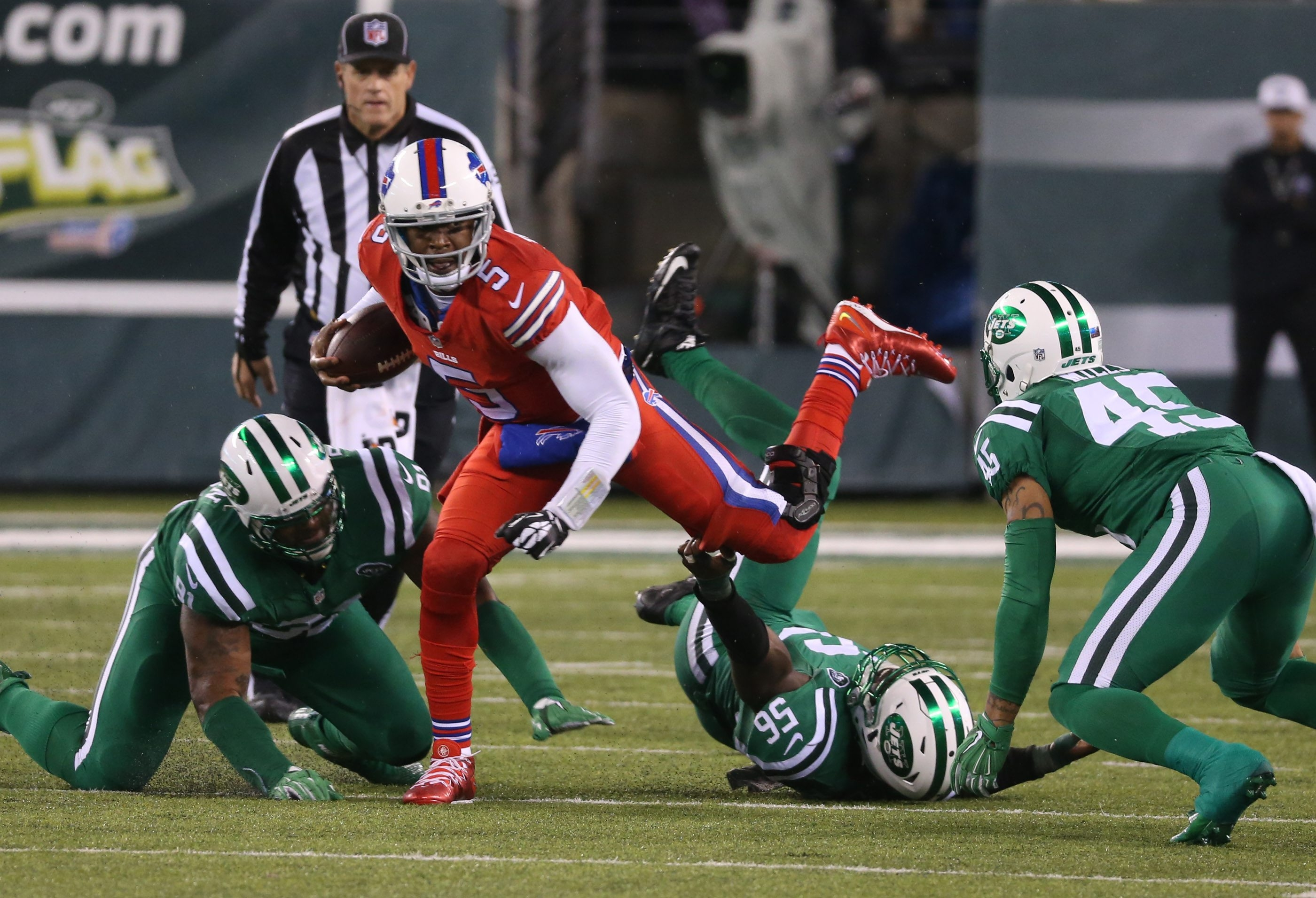 The Jets' defense recorded four sacks against Bills quarterback Tyrod Taylor when the teams met in the Meadowlands on Nov. 12. Pressure is on the Bills' offensive line to produce when the teams meet again Sunday. (James P. McCoy/Buffalo News)