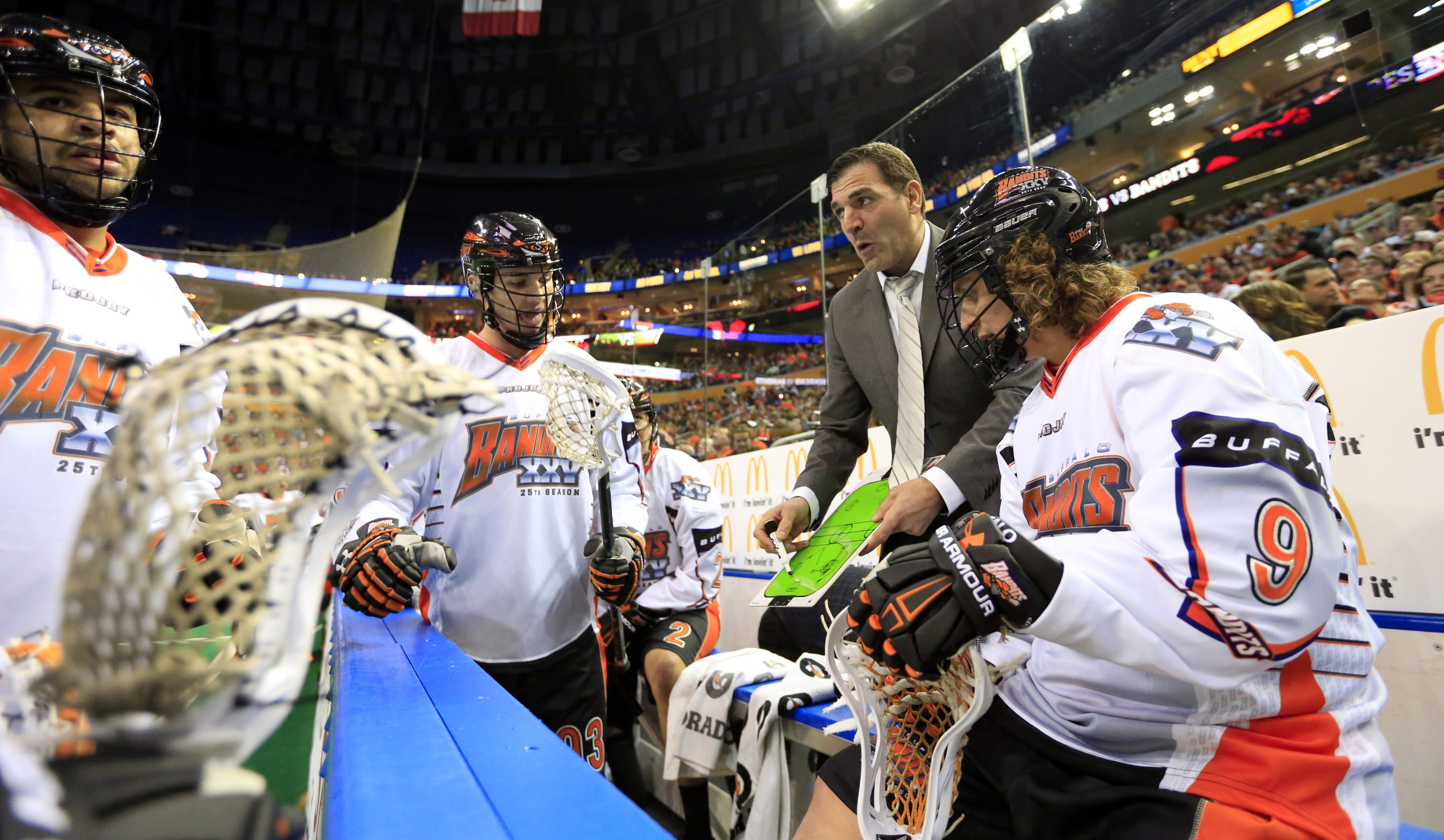 New Bandits assistant coach John Tavares talks to his team during a timeout during Saturday's game.