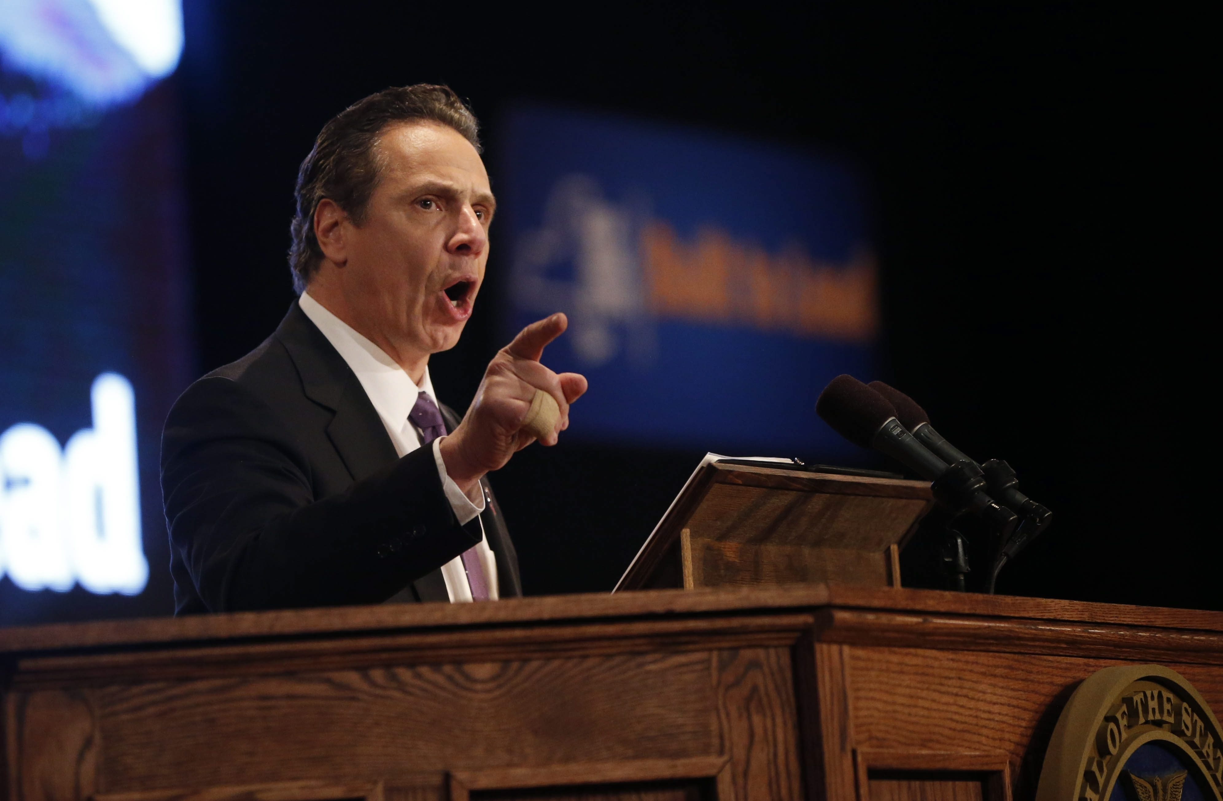 "Gov. Andrew M. Cuomo delivers annual State of the State address at convention center in Albany, describing New York as ""progressive capital"" of U.S. and saying, ""The arrows are finally pointed in the right direction."""