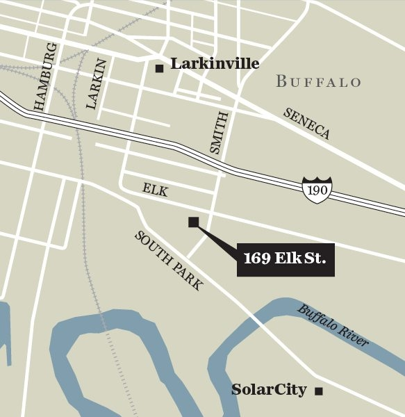 Locator map showing 169 Elk street for apartments at former St. Clare Roman Catholic Church.