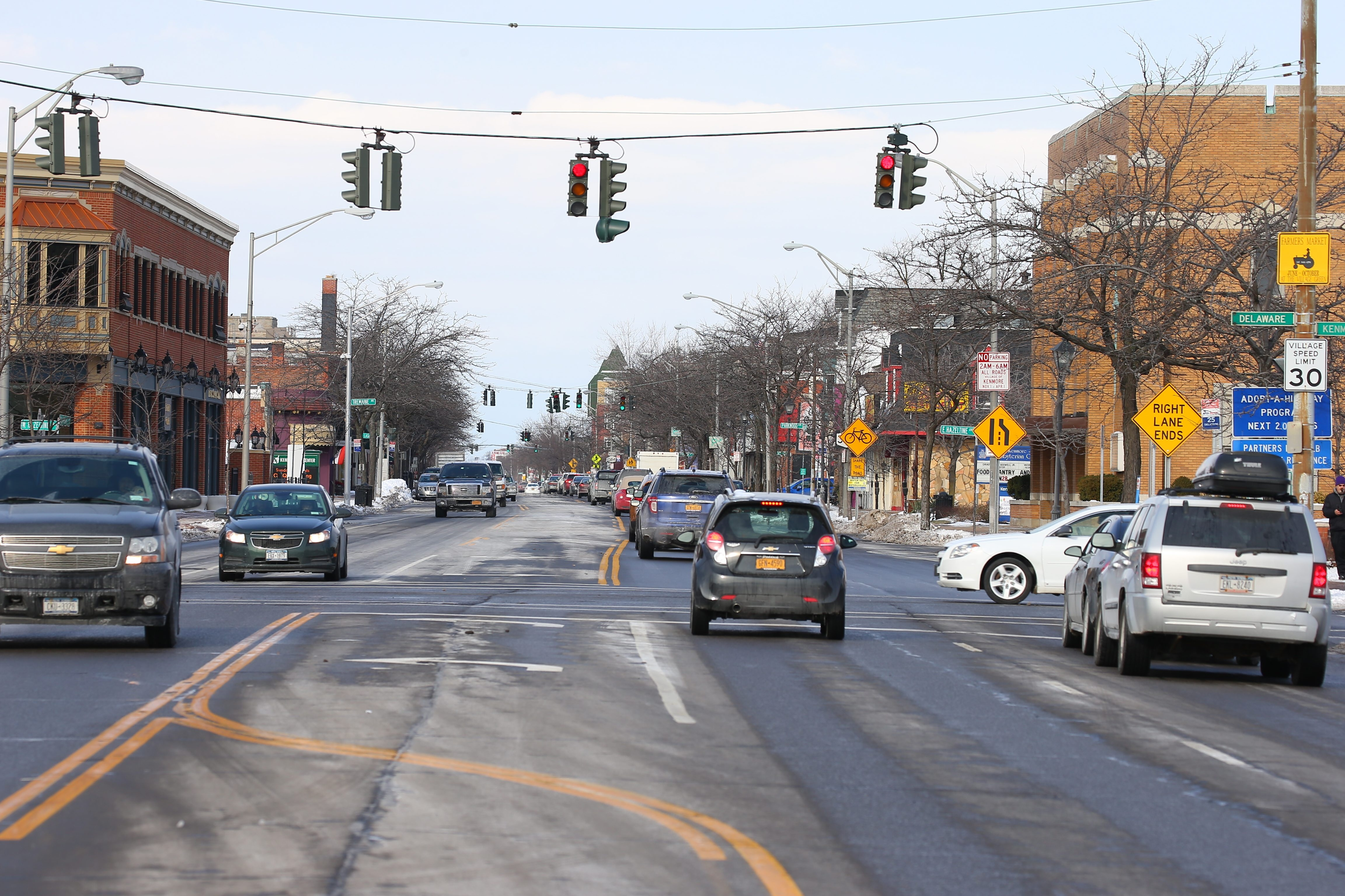 Traffic accidents on Delaware Avenue between Kenmore and Pullman avenues in the Village of Kenmore have risen sharply since the number  of lanes was reduced from four to two. In the village as a whole, there were 252 accidents last year, more than a quarter of them on Delaware. (John Hickey/Buffalo News)
