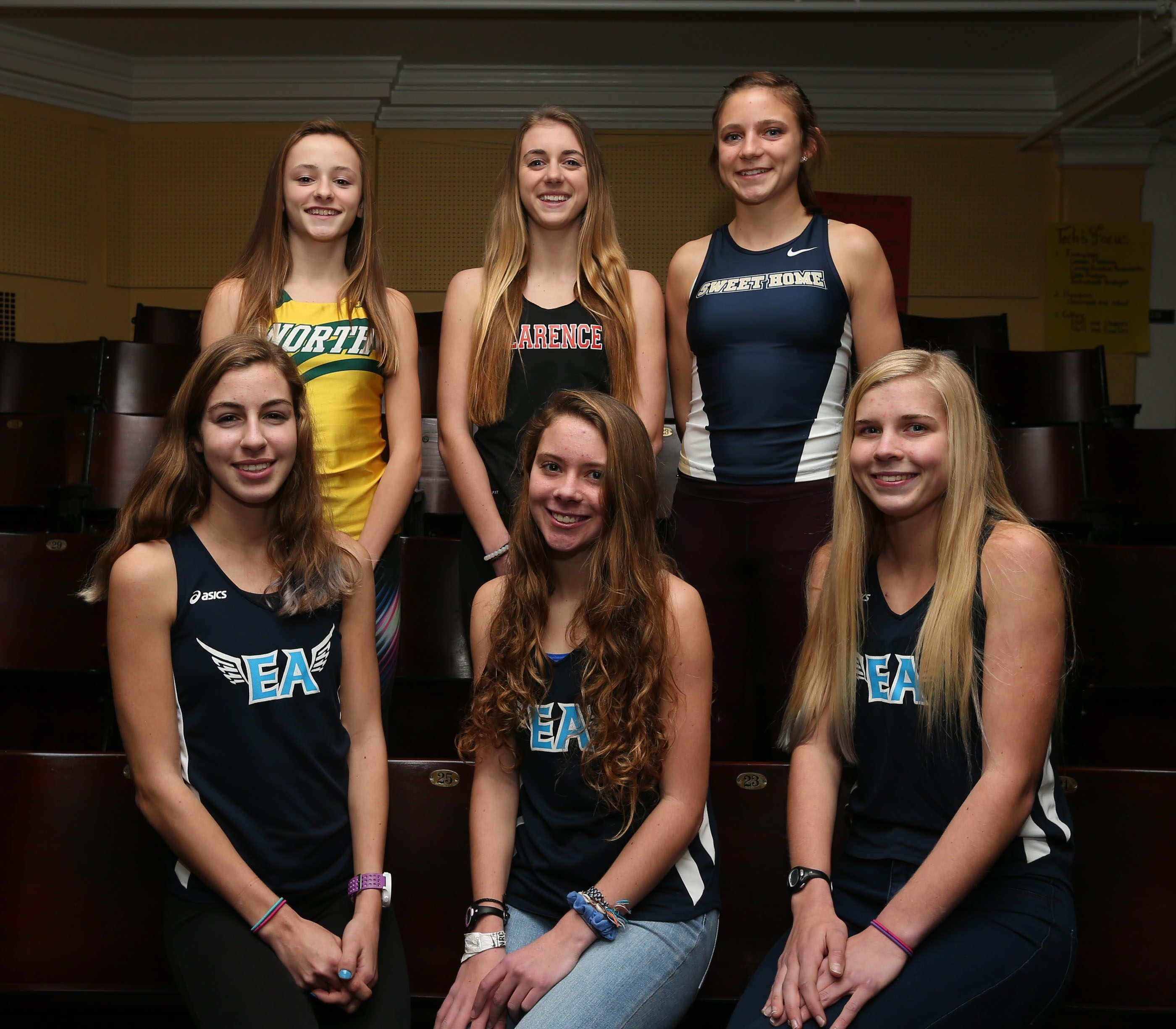 The All-Western New York girls cross country team: Front row (left to right),  Sophia Tasselmyer, Fiona Danieu, Molly McLaughlin. Back row (left to right): Naomi Wistner, Katrina Patterson and Sam Peterman. Not pictured: Hope Pietrocarlo, Maisy Webster.