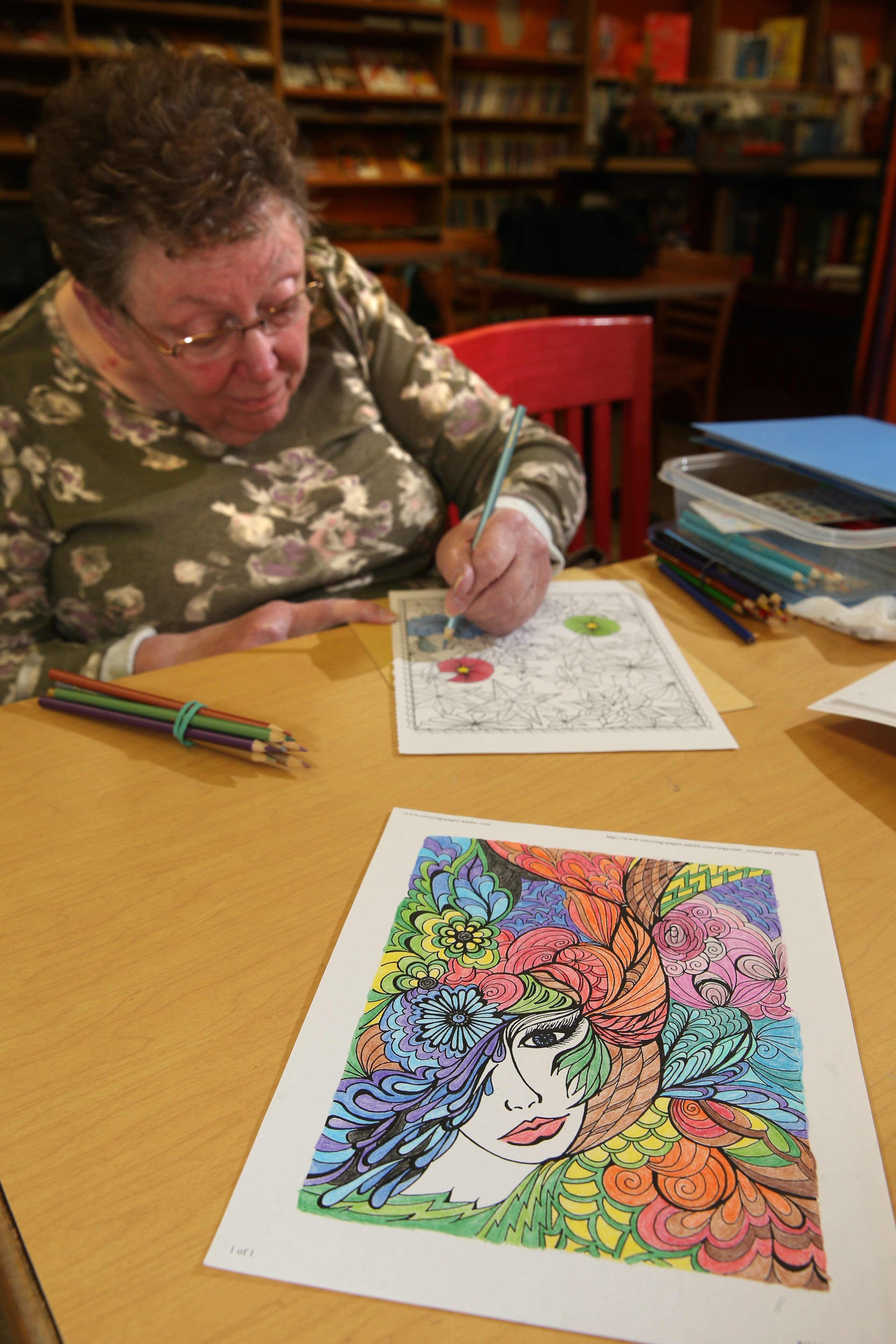 Brighton Place Library, 999 Brighton Road, Tonawanda, hosts adult coloring sessions at noon and 5 p.m. on Tuesdays. Joyce Abt, of the Town of Tonawanda, finds coloring to be very relaxing.