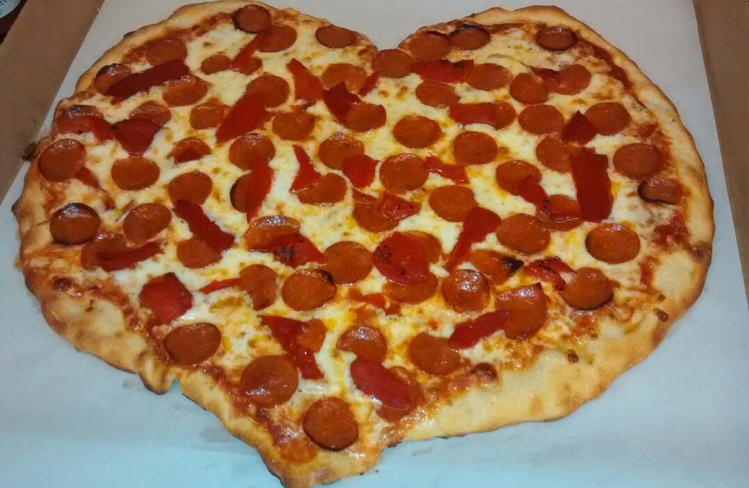 Just Pizza's heart-shaped pizza is served only one day a year — Feb. 14.