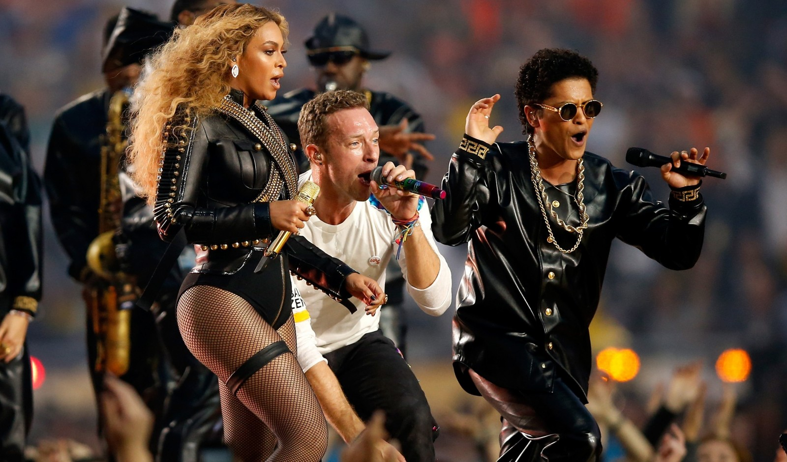 A trio of stars: Beyonce, Chris Martin of Coldplay and Bruno Mars worked together for a song at halftime. (Getty Images)