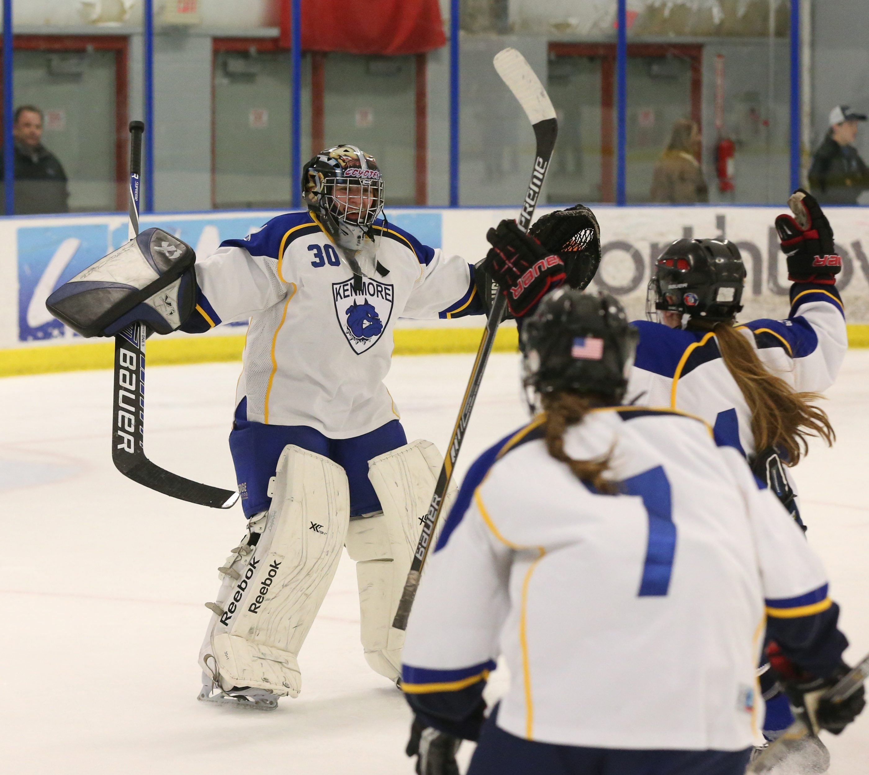 Kenmore/Grand Island goaltender Cara Lynn Klopp celebrates after beating Orchard Park/Frontier, 4-2, in the Section VI championship game at Northtown Center at Amherst.