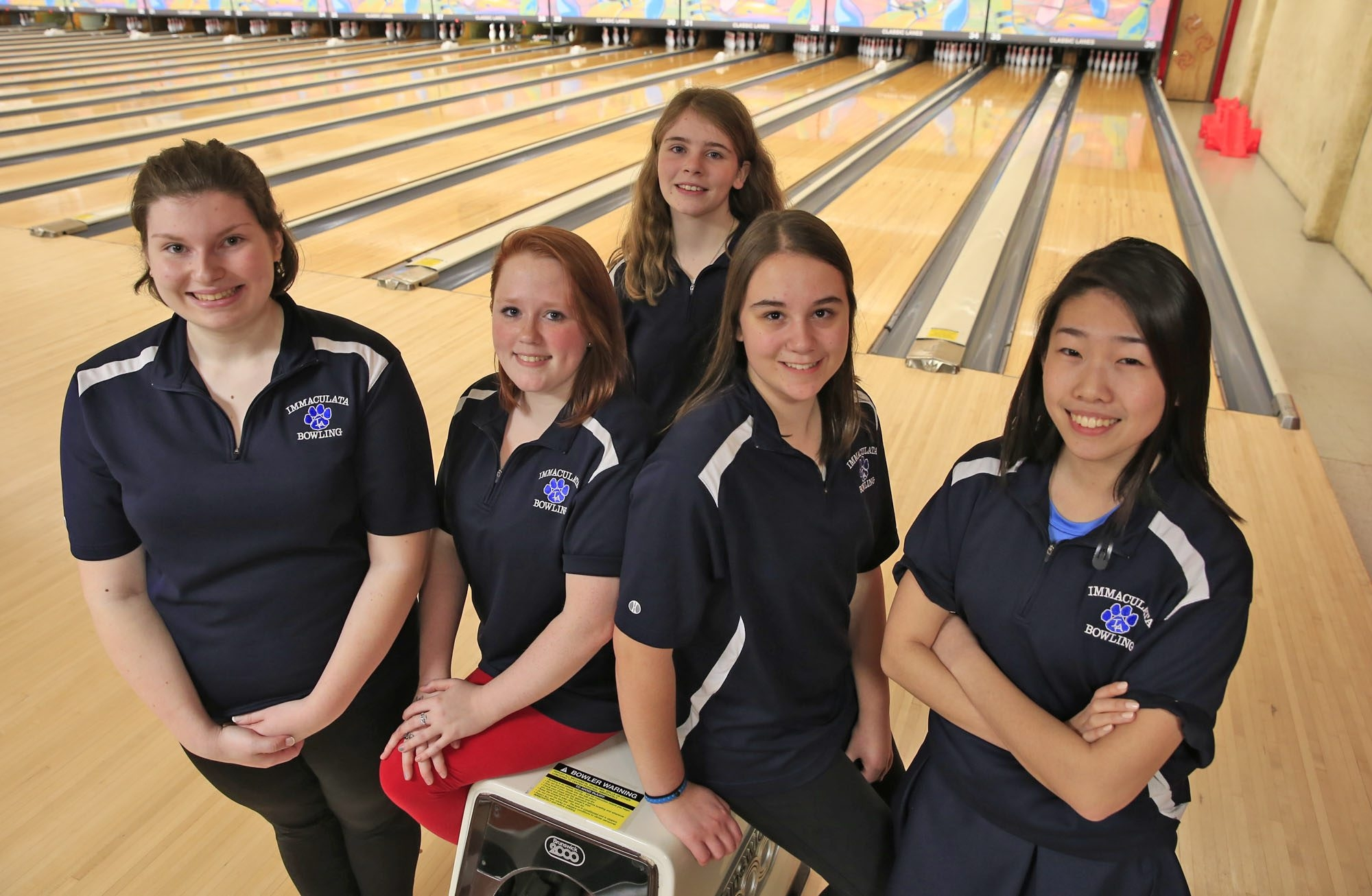 Kaitlyn Gernatt, Kelsey Cashion, Abigail Swiger, Samantha Batchev and May Ren led Immaculata's girls bowling team to the regular-season and postseason Monsignor Martin titles.