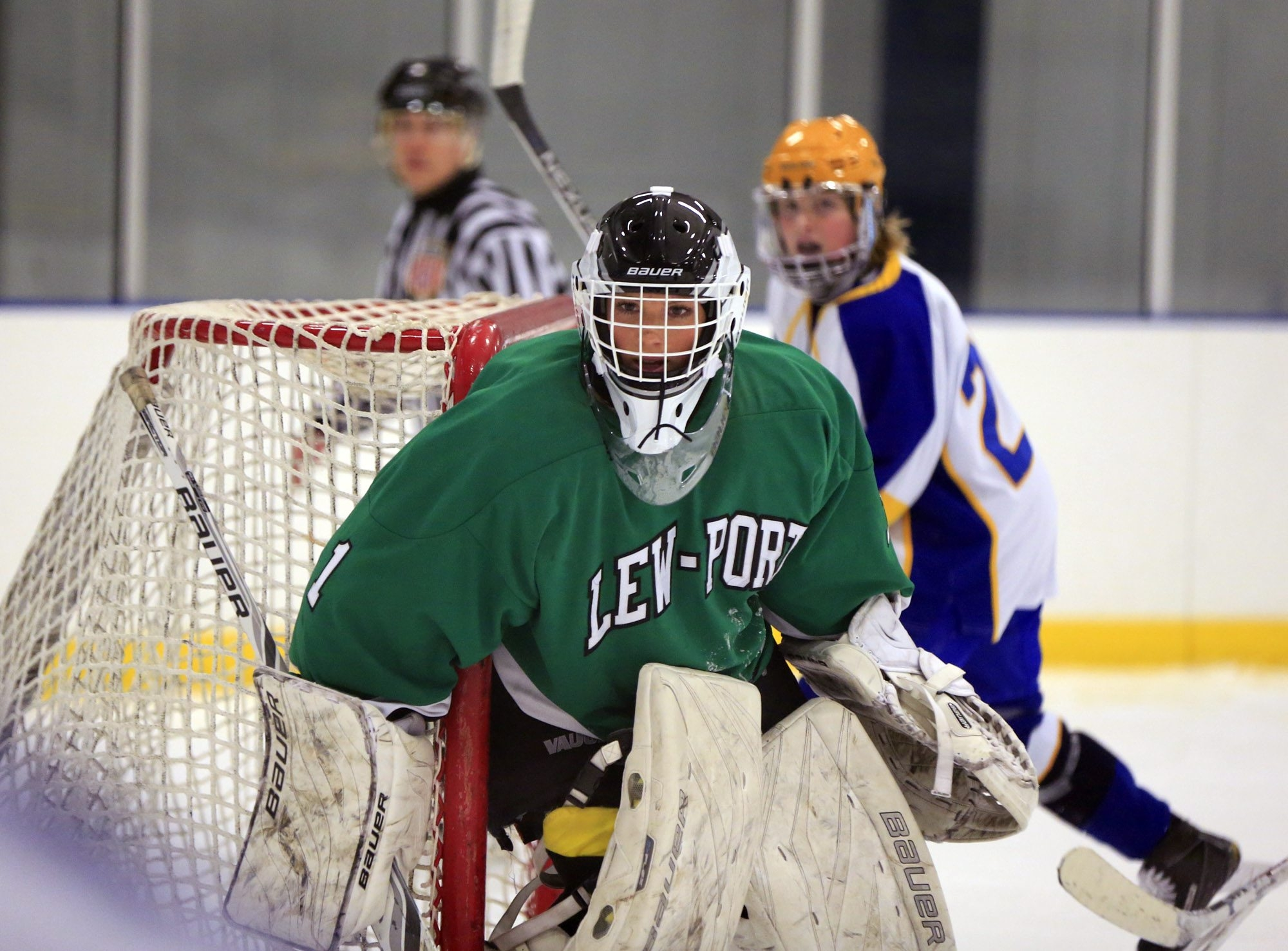 Lewiston-Porter goaltender Kyra Johansson gets in position to make save in a game against Lockport in a Western New York Federation Division 4 game at Hyde Park last month.
