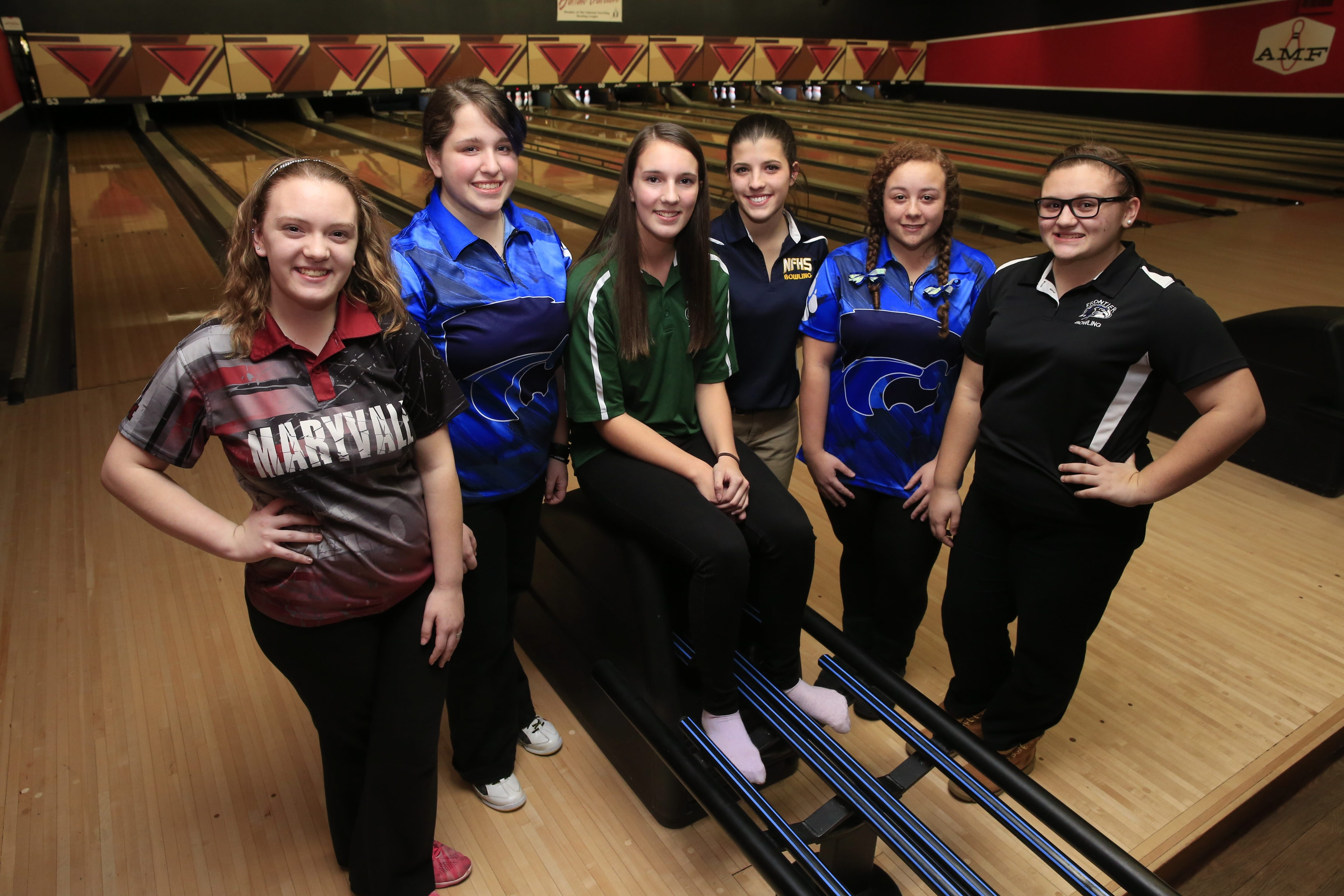 These six high school bowlers are heading to the states: From left, Kayli Christ, Maryvale; Rachel Wagner, Depew; Cameron Spring, Allegany-Limestone; Angela Gabriele, Niagara Falls; Sarah Godfrey, Depew; and Brittany McAndrews, Frontier. They were at the Section VI bowling championships at Airport Lanes on Thursday.
