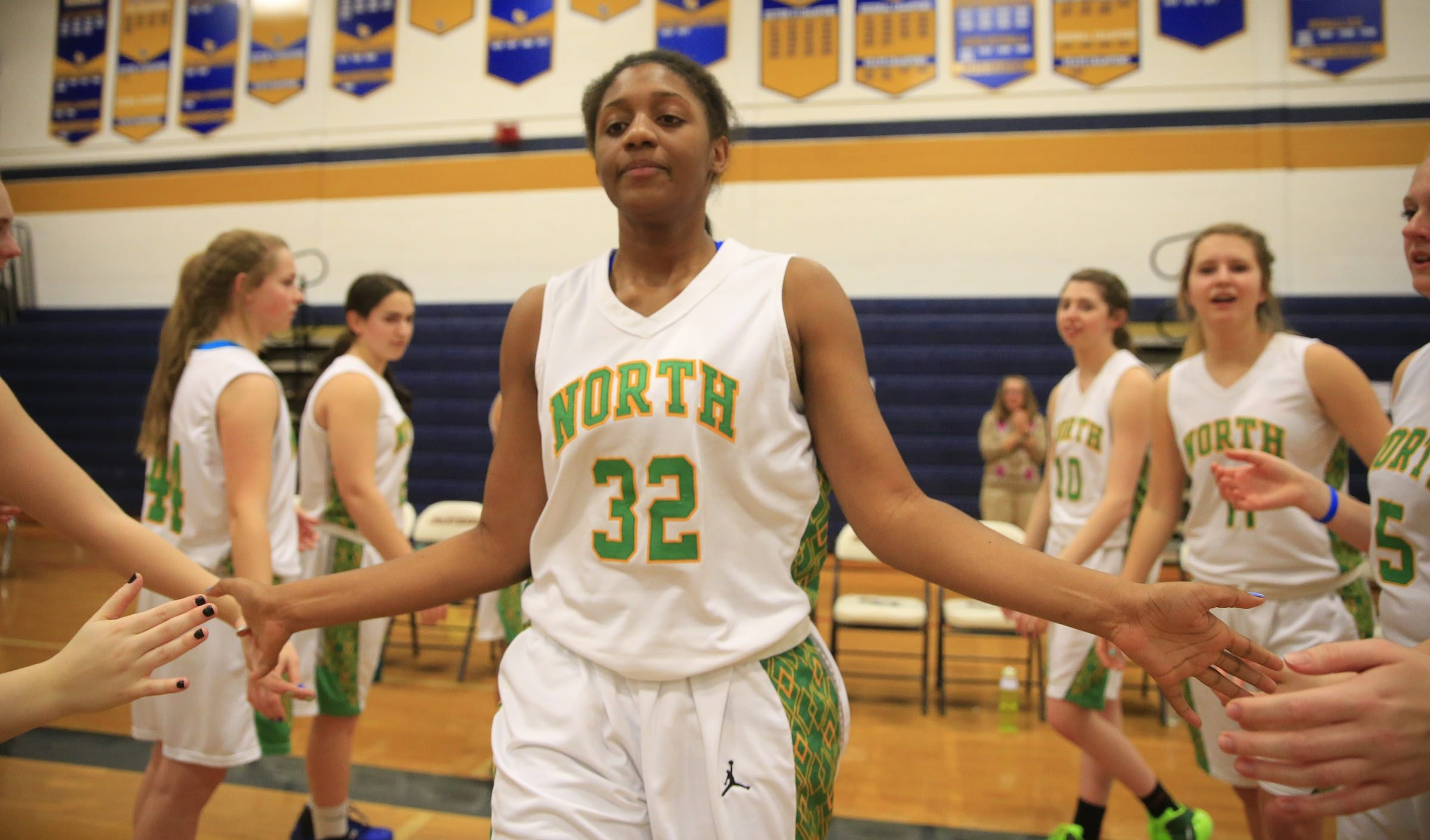 Williamsville North's Ericka Taplin is introduced prior to playing Lockport during first half playoff action at Sweet Home high school  on Friday, March 6, 2015.(Harry Scull Jr./Buffalo News)