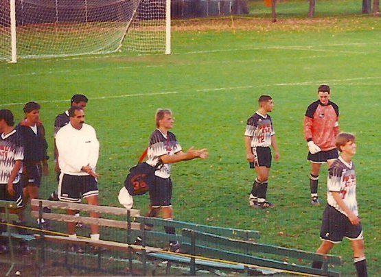 Chris Pepper, far right, wore No. 7 as a defender for Buffalo State College in the early 1990s. (via Nick DeMarsh)