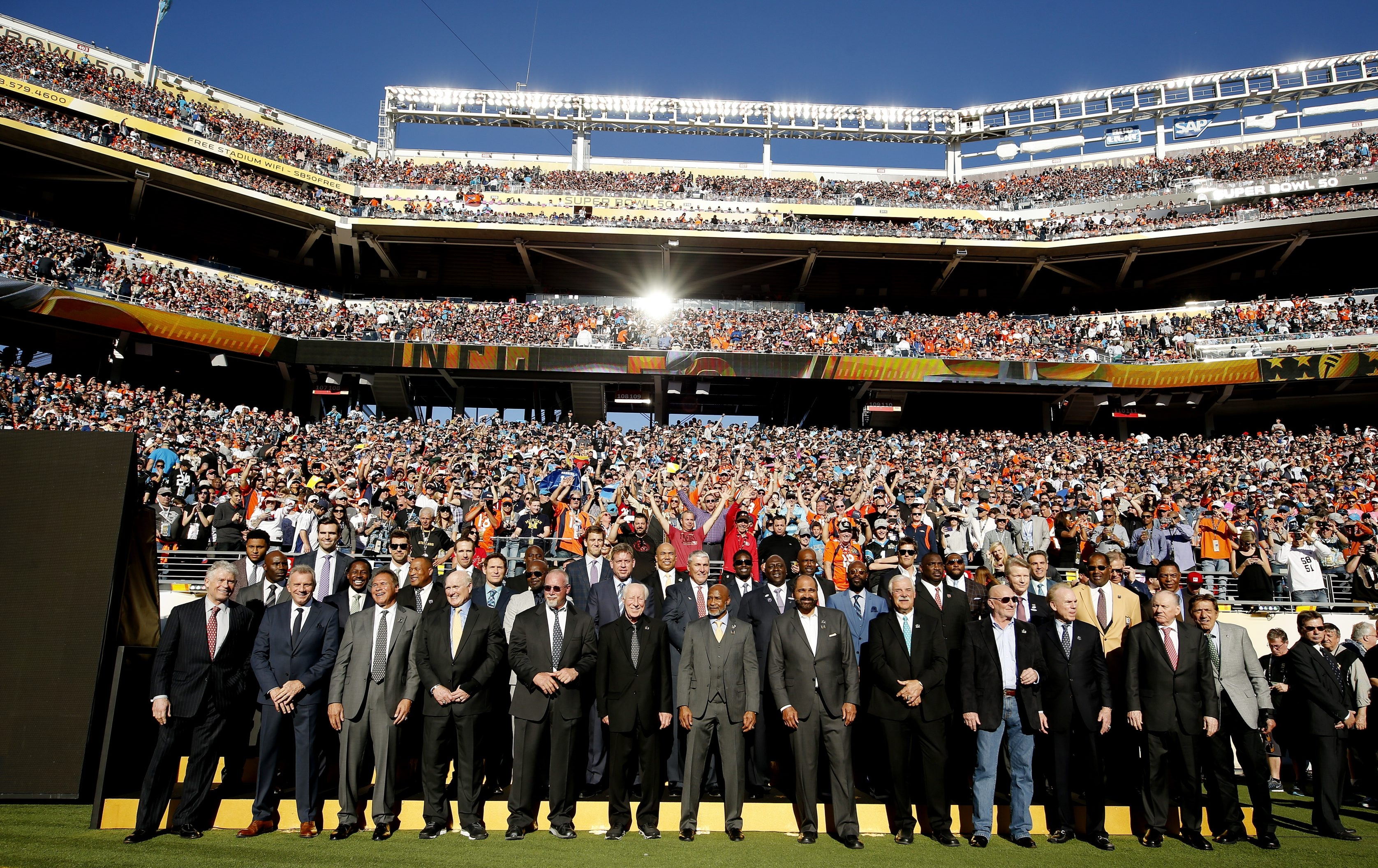 Past Super Bowl Most Valuable Players were introduced at Levi's Stadium prior to the start of Sunday's Super Bowl 50 in Santa Clara, Calif.
