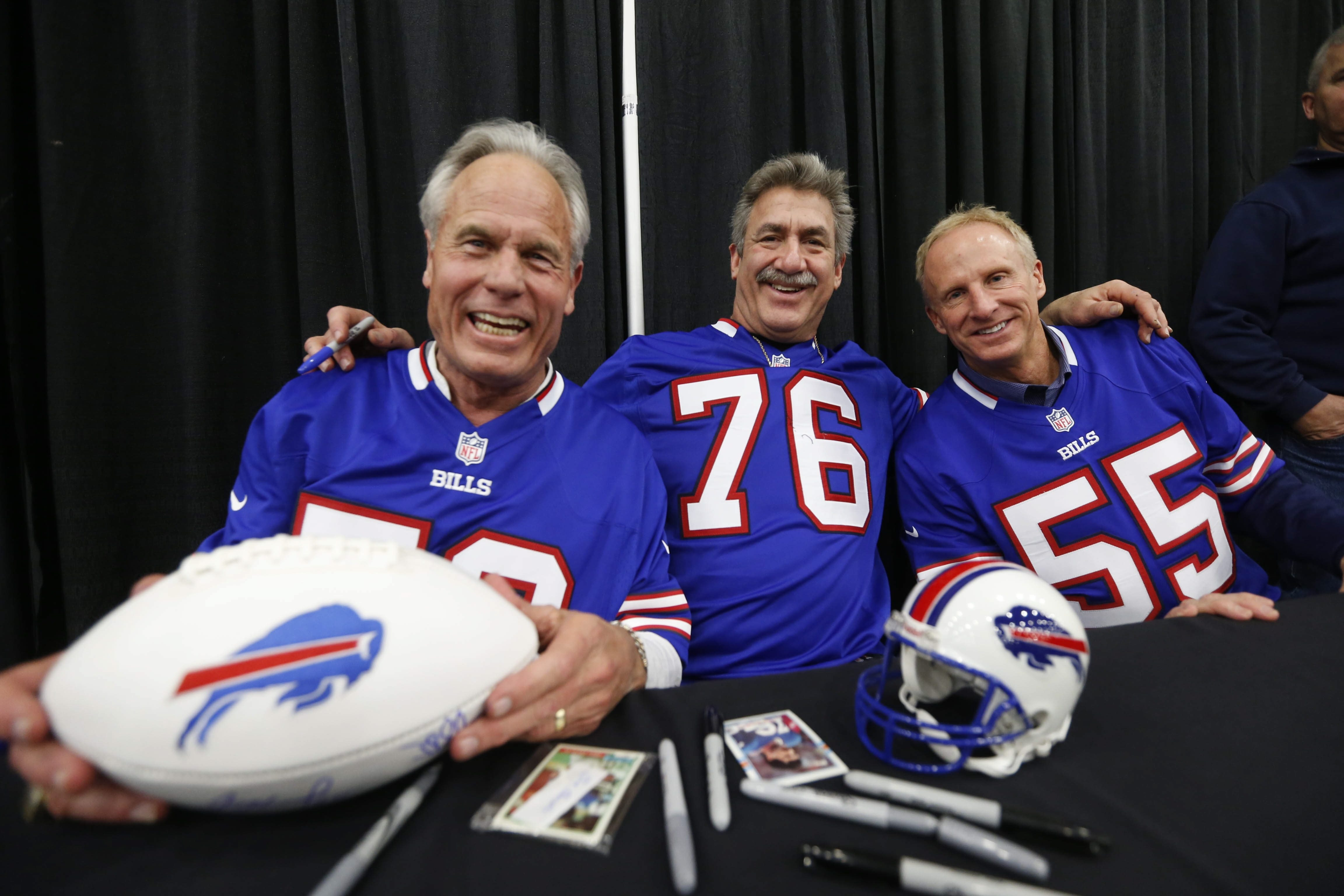 """The so-called """"Bermuda Triangle"""" visited the Buffalo Auto Show on Sunday. From left, Shane Nelson, Fred Smerlas and Jim Haslett."""