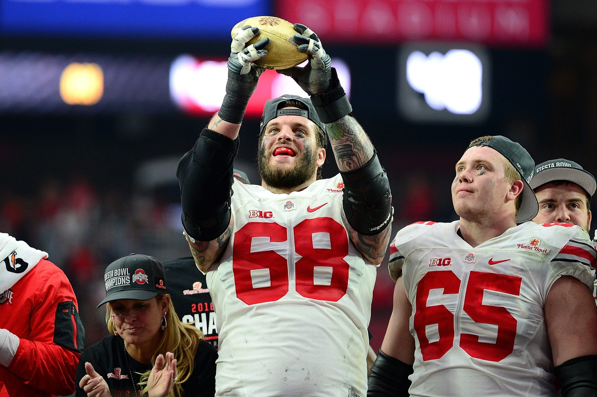 Tackle Taylor Decker (68) of Ohio State was the Big Ten offensive lineman of the year in 2015. He's known for his strong leadership traits.