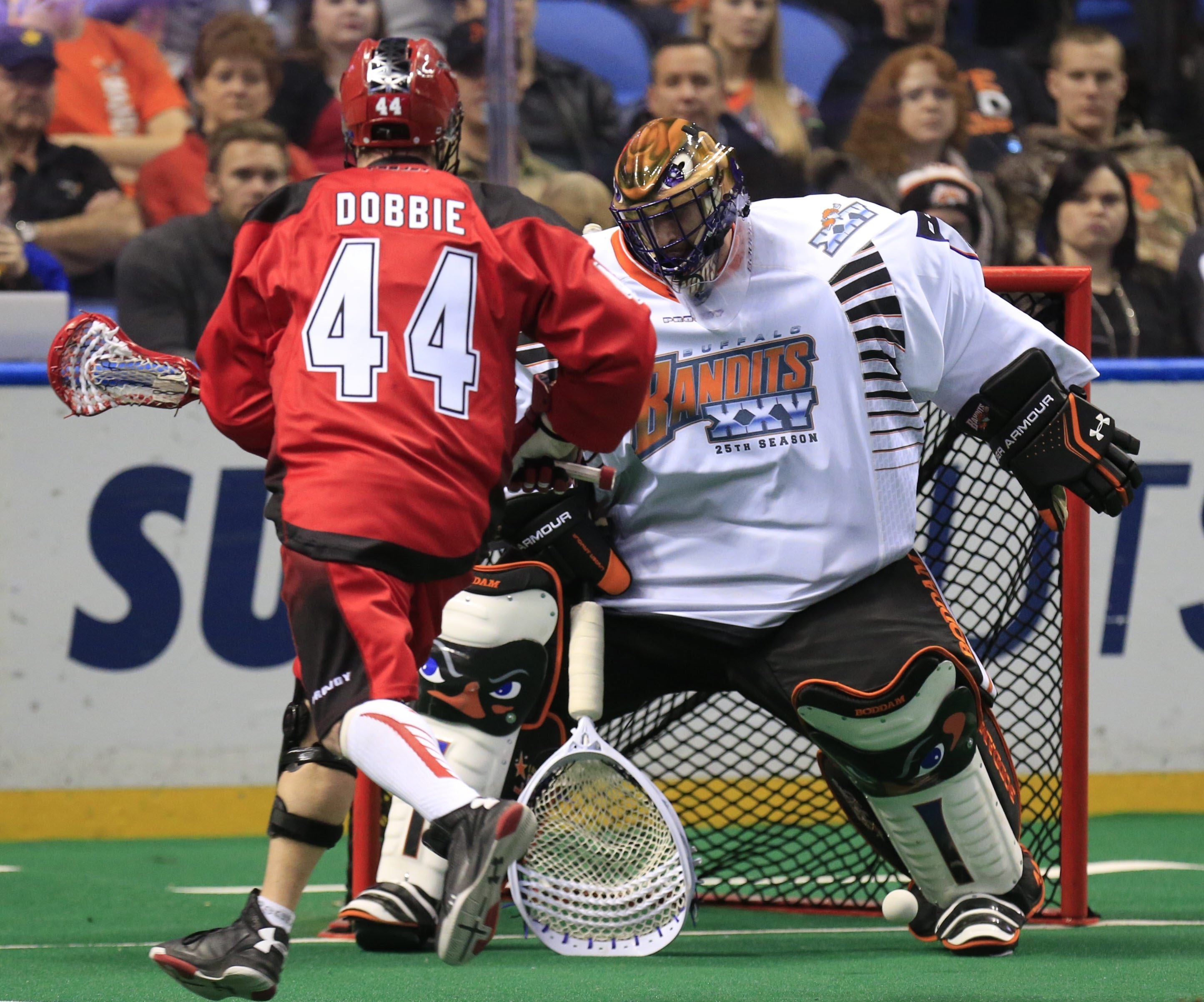 The saves have just kept adding up for Bandits' goaltender Anthony Cosmo, putting him on the threshold of the NLL career record. (Harry Scull Jr./Buffalo News)