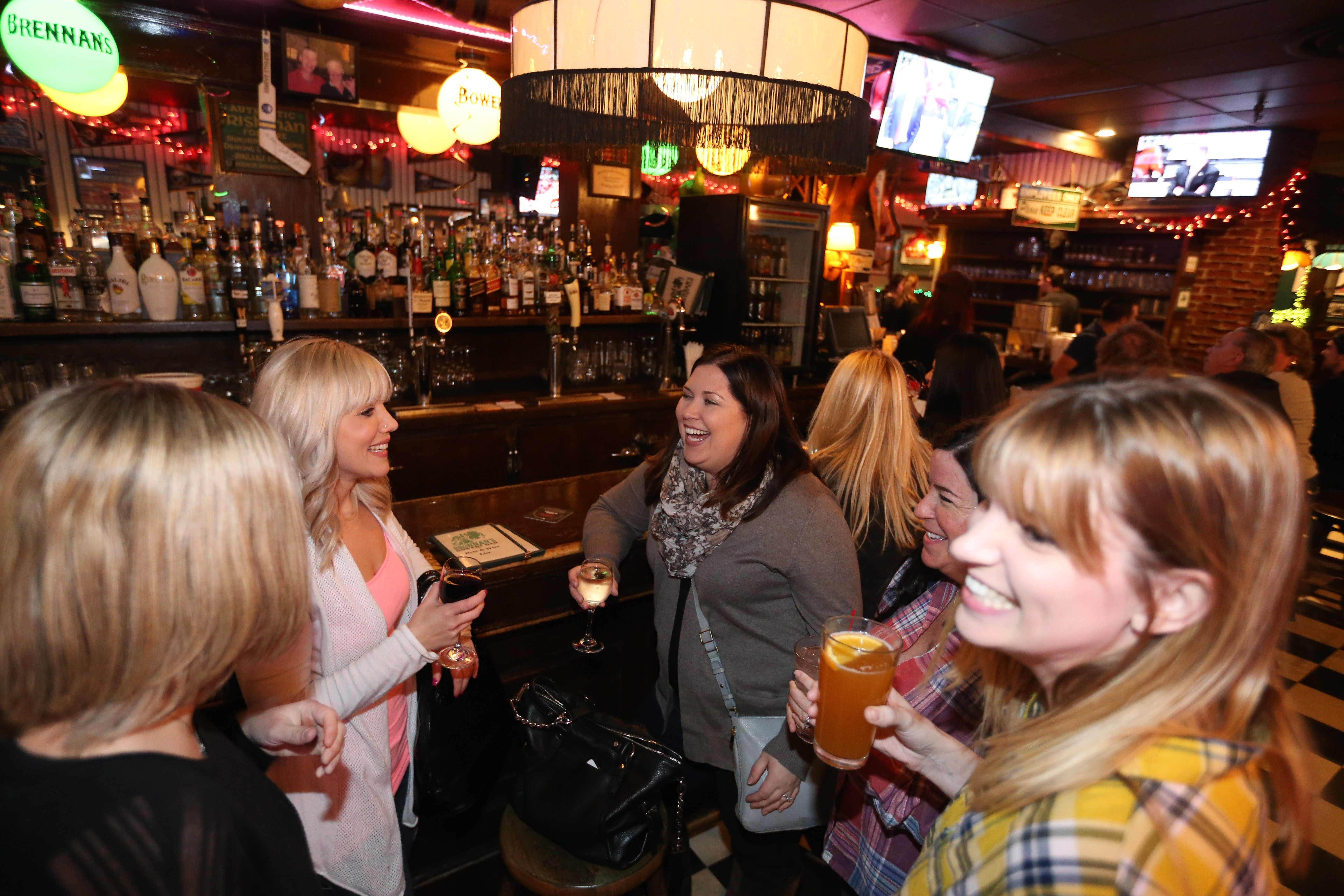 Brennan's Bowery Bar at 4401 Tranist Rd. in Clarence, has been in business for 45 years.  Hanging out from left are Jen Stepniak, Michelle Waltz, Jacki Patnella, Rose Duncand an Stacey Roach, Tuesday, Jan. 26, 2016.  (Sharon Cantillon/Buffalo News)