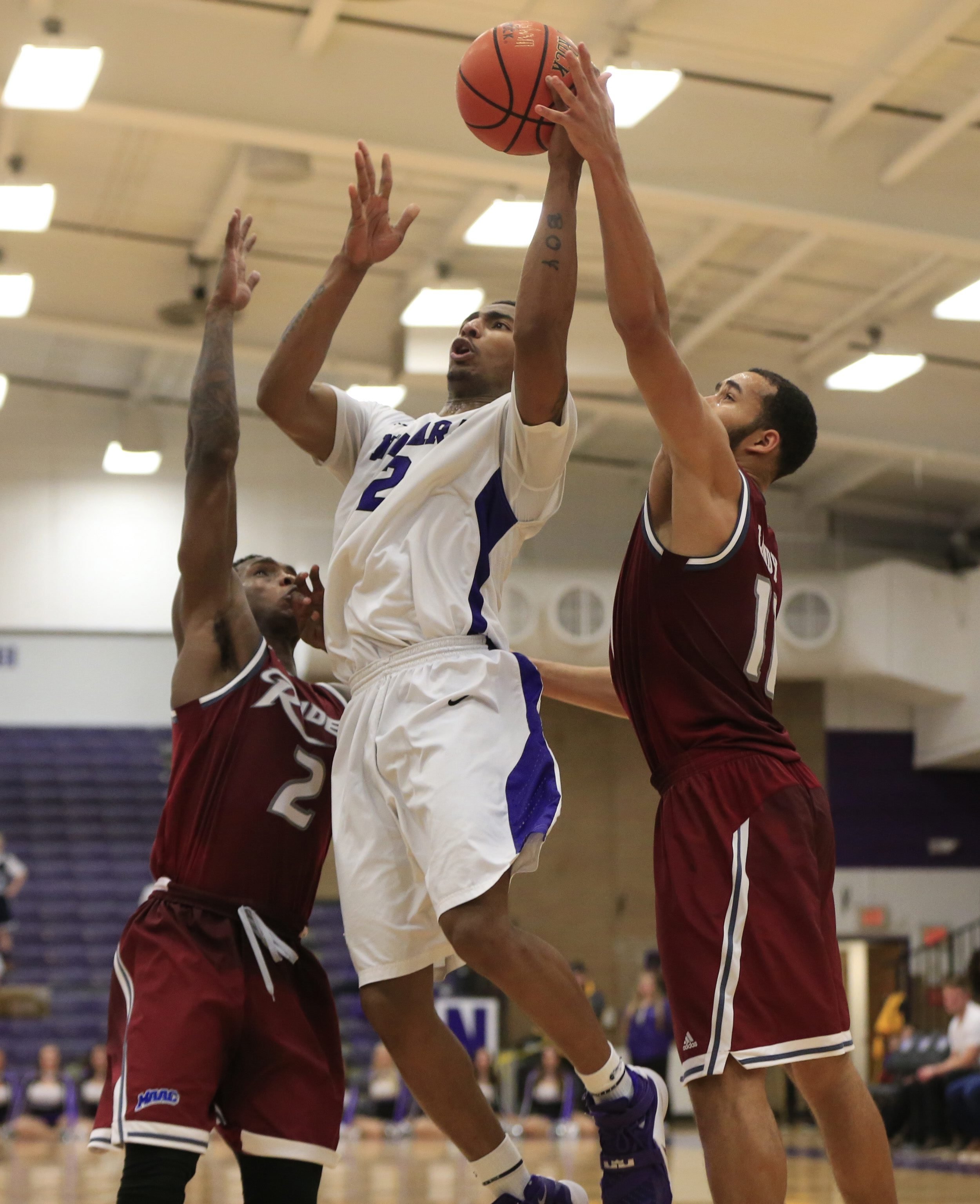 Niagara's Emile Blackman shoots against Rider during second half action at the Koessler Center on Friday, Feb. 5, 2016.  (Harry Scull Jr./Buffalo News)