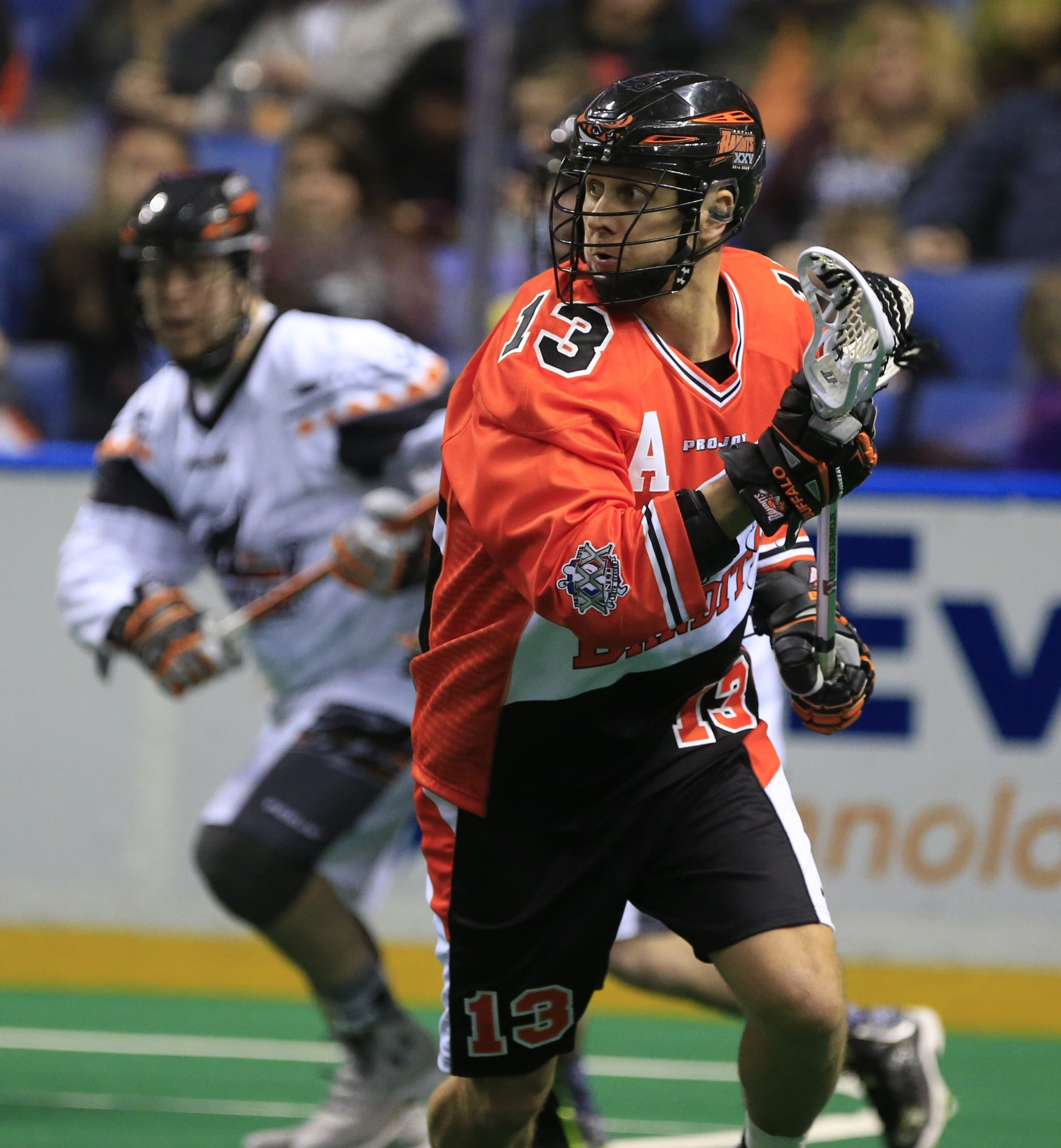 David Brock of the Bandits looks for room against the New England Black Wolves on Saturday night.