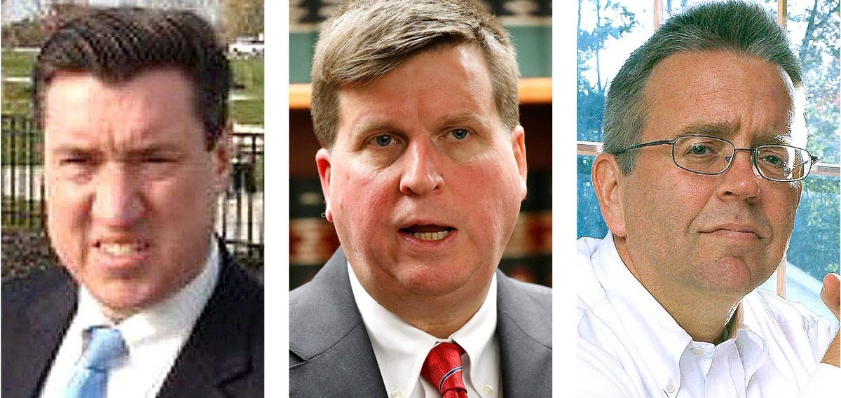 Erie County Democrats are expected to endorse John J. Flynn Jr., left, for district attorney over Michael J. Flaherty Jr., center, and Mark A. Sacha.