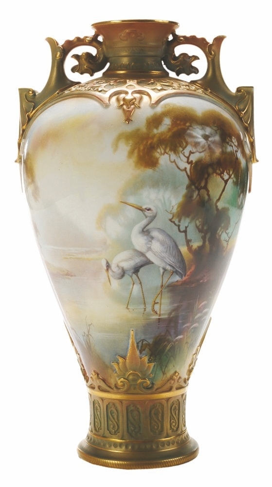 William Powell, a famous painter of birds, decorated this Royal Worcester vase that sold for $1,180 at a May 2015, Brunk auction in Asheville, N.C.