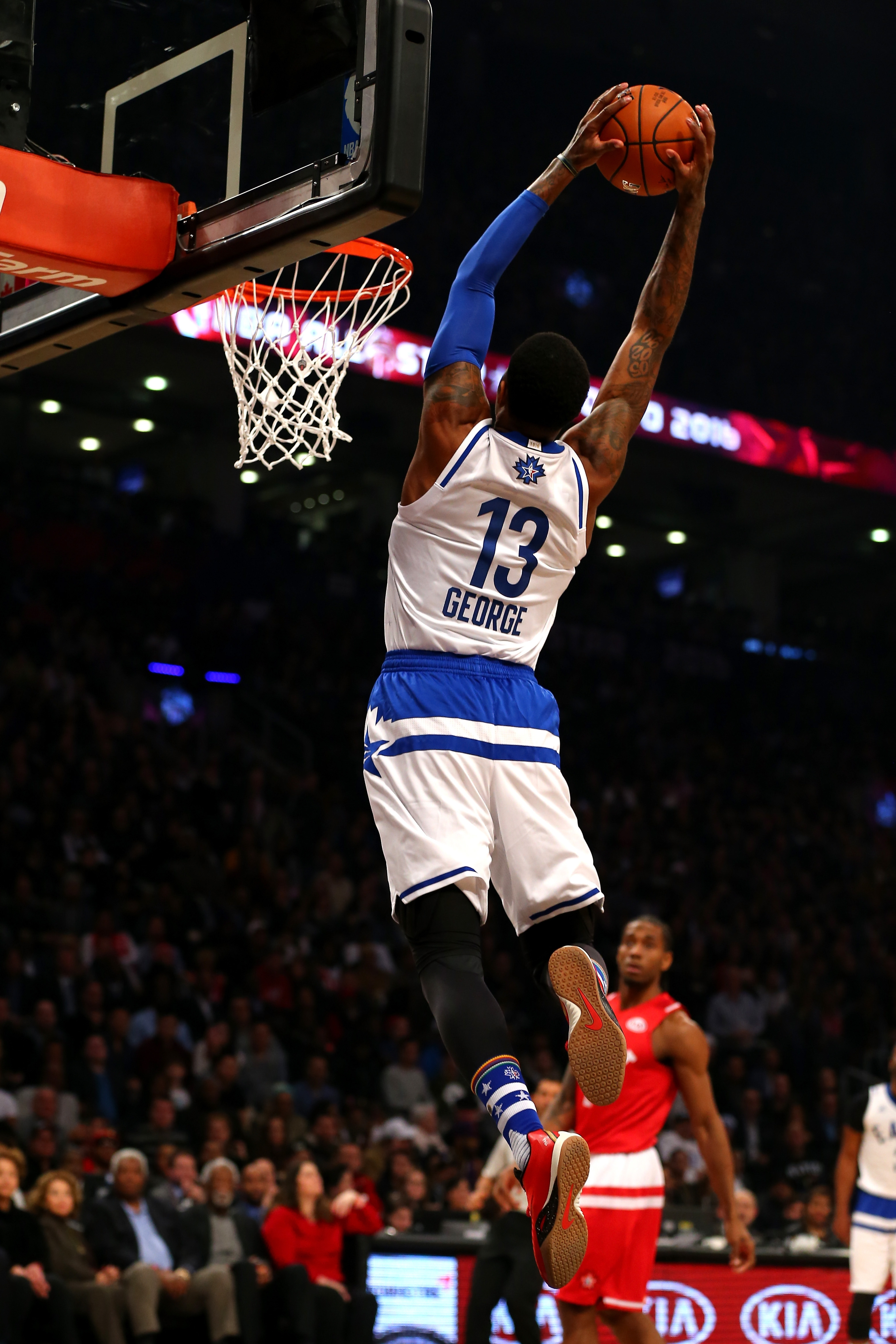 Eastern Conference All-Star Paul George of the Pacers throws down two of his 41 points.