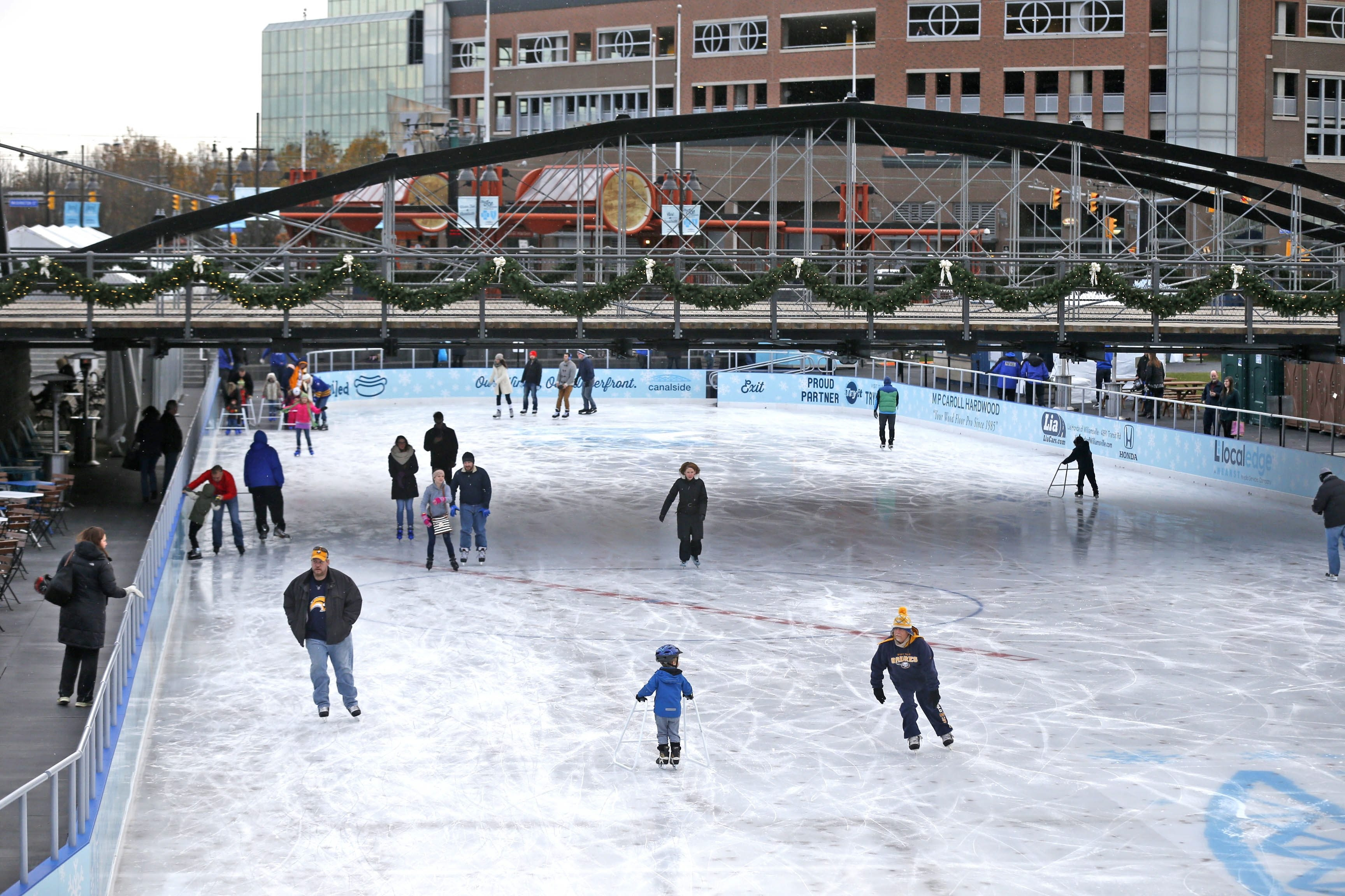 Ice skating at CanalSide is free to the first 200 people on the first Friday of each month.