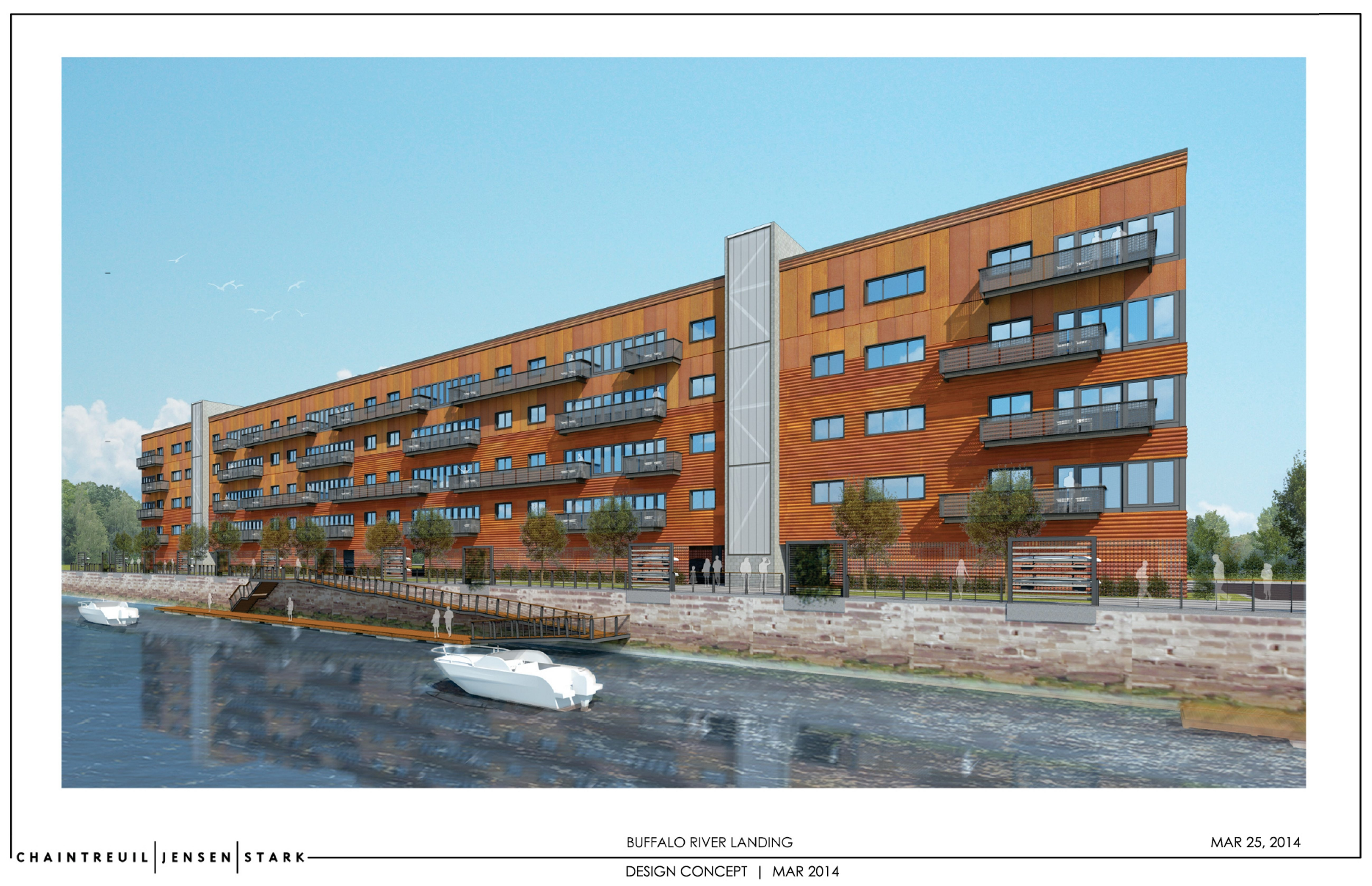 Rendering of Buffalo River Landing at Ohio and South streets. It will have 78 apartments, with an expected January opening.