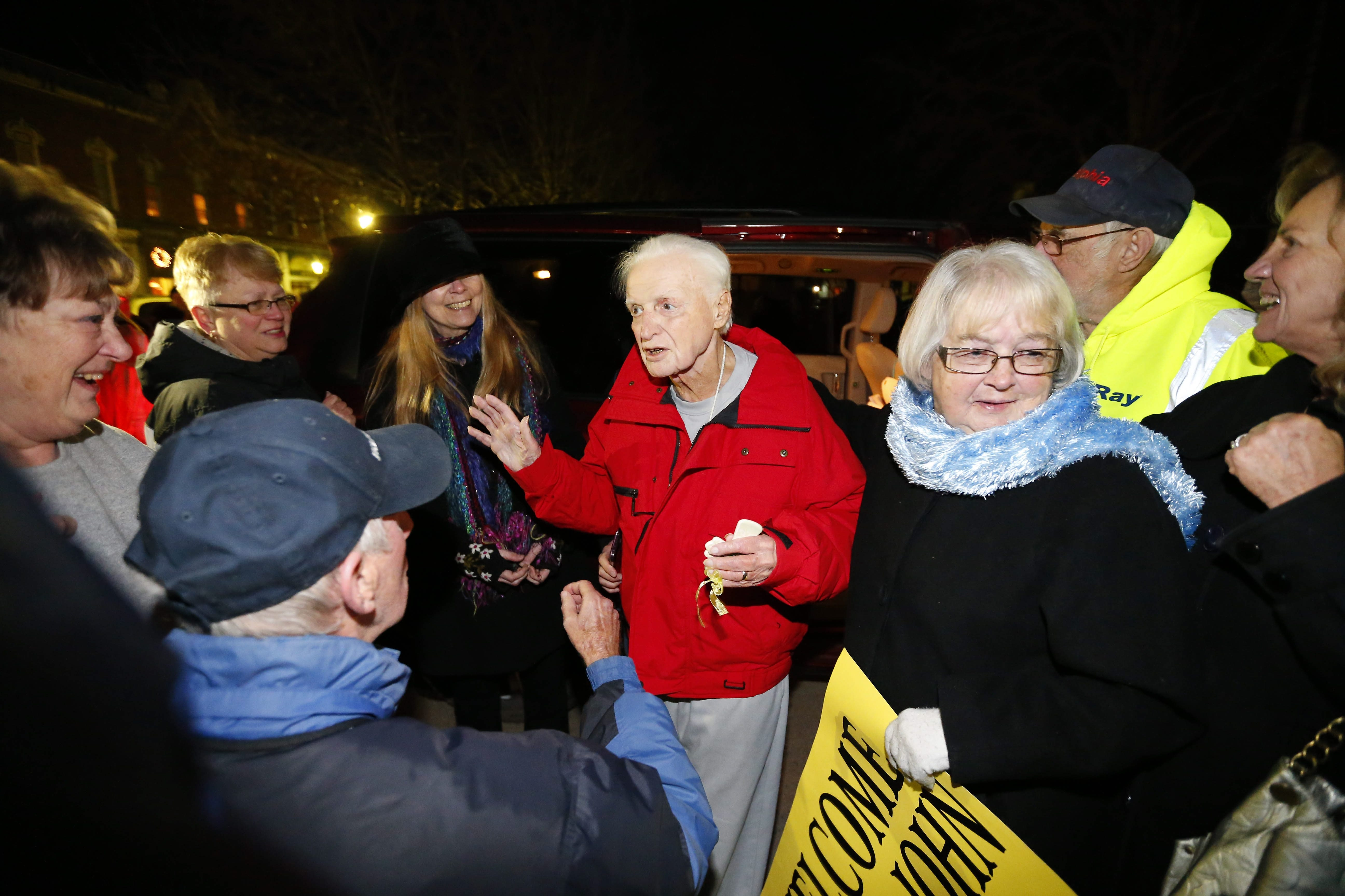 John Rigas is welcomed home from prison by the people of Coudersport, PA Monday, February 22, 2016.   (Mark Mulville/Buffalo News)