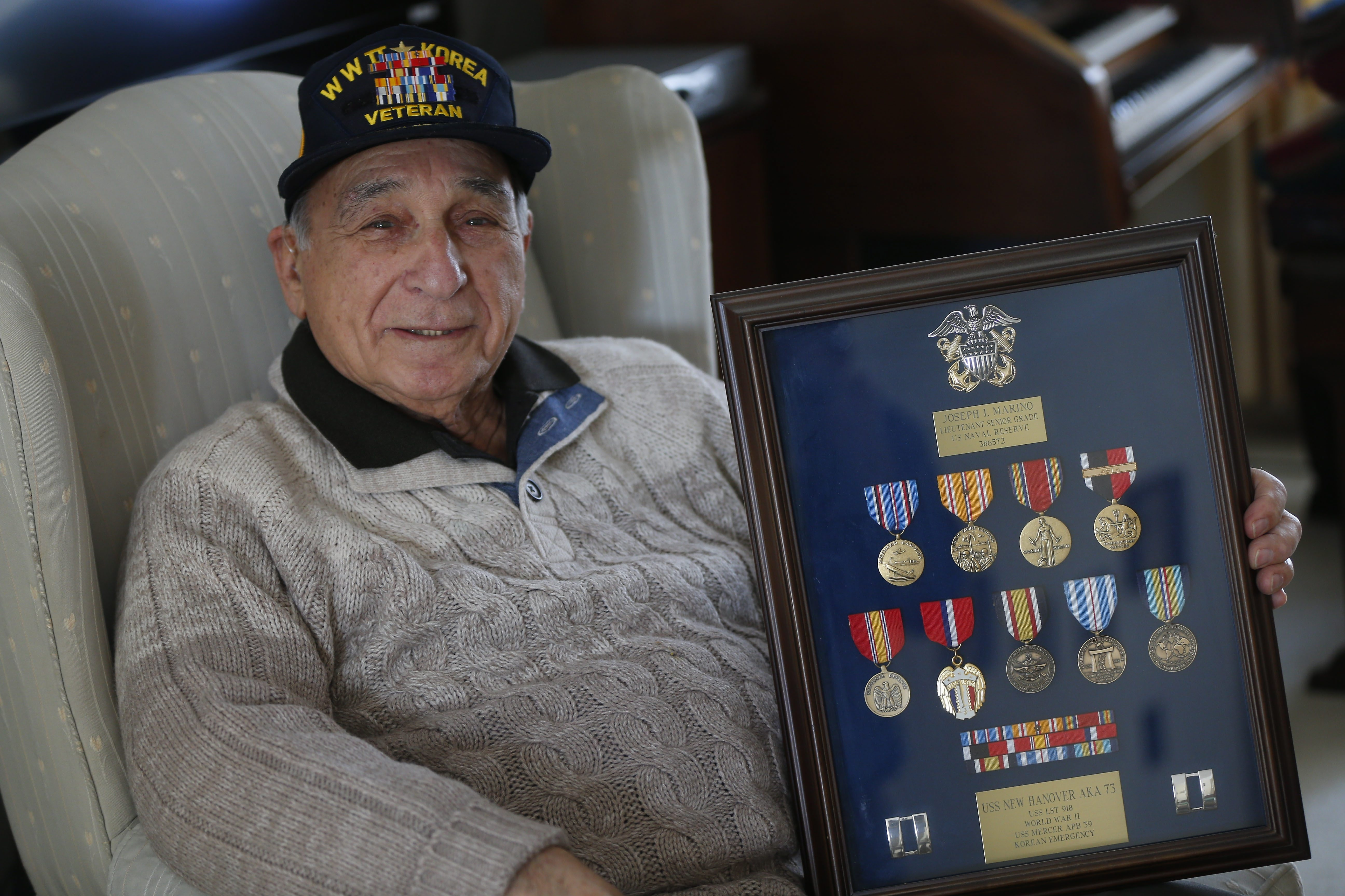 """""""Kamikaze that we fired on … was hit with shrapnel and crashed into the ship next to us,"""" decorated veteran Joseph Marino recalls."""
