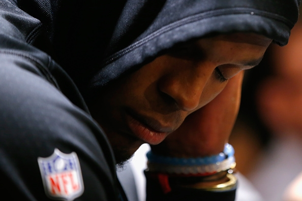 Cam Newton wears his dejection in the aftermath of Super Bowl 50. (Getty Images)