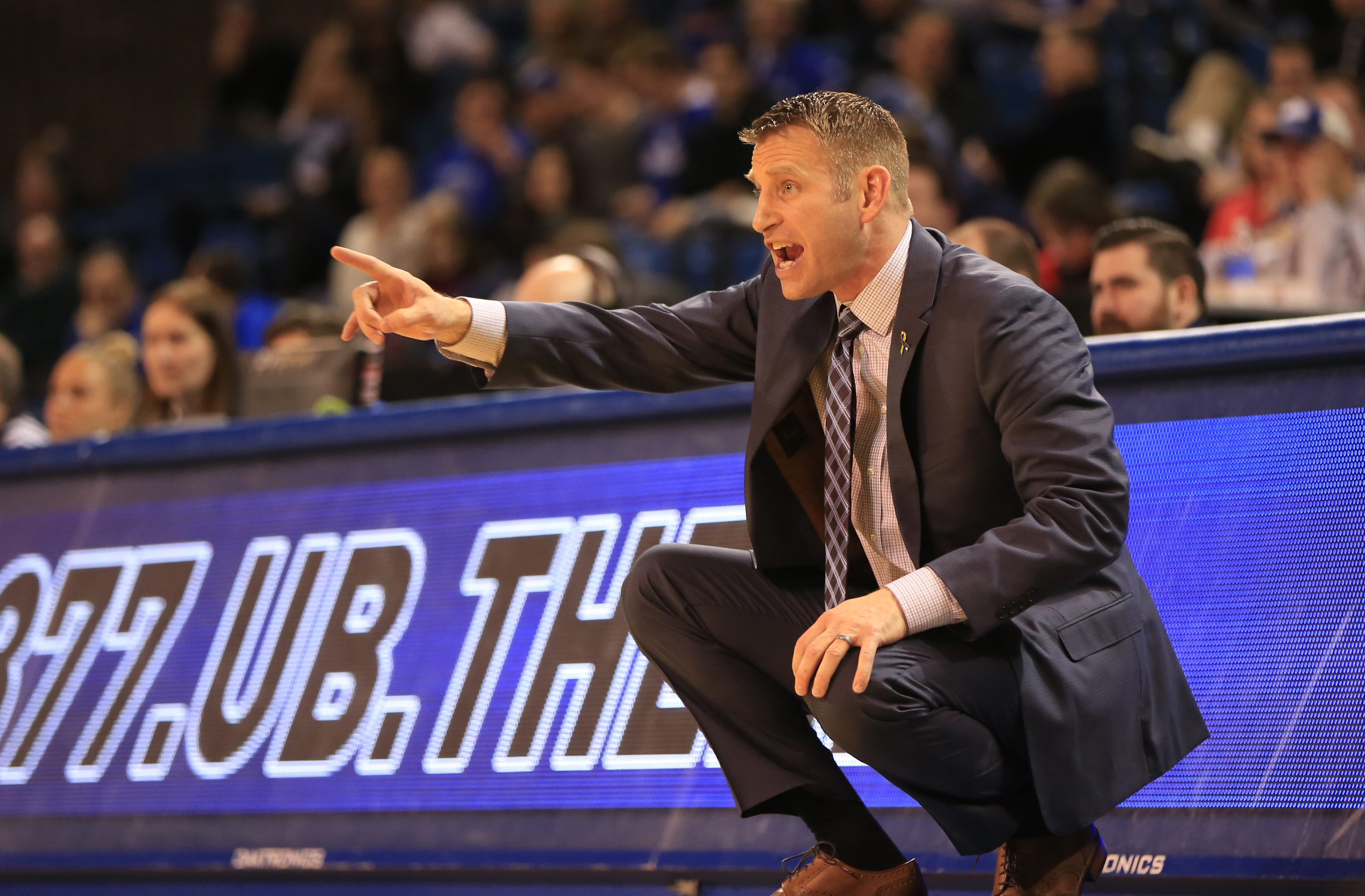 Head coach Nate Oats has kept UB basketball moving forward despite a series of roster disruptions.  (Harry Scull Jr./Buffalo News)