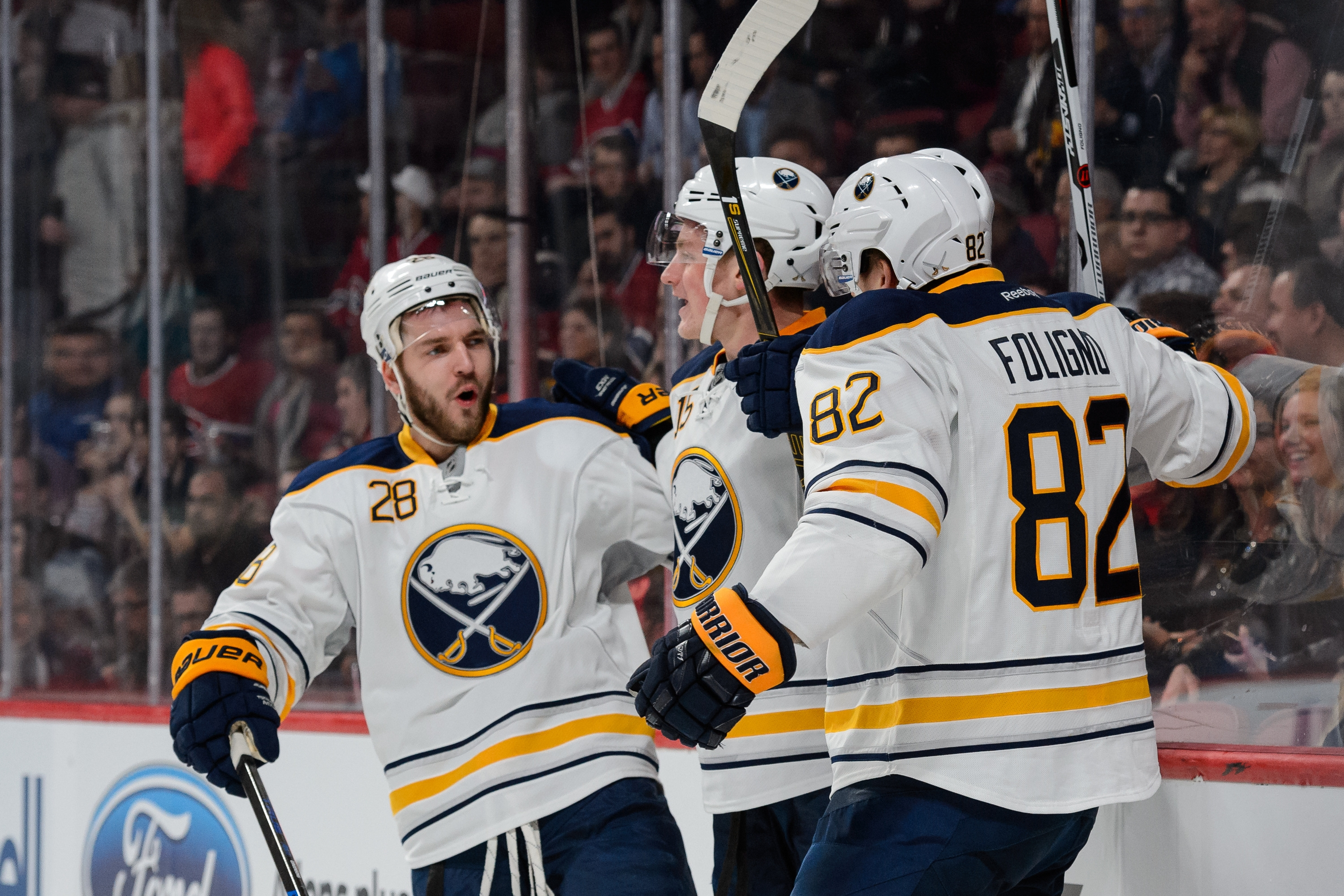 Marcus Foligno (82) practiced fully Monday and expects to play Tuesday against the Florida Panthers. Meanwhile linemate Zemgus Girgensons (28) missed practice with a lower body injury.