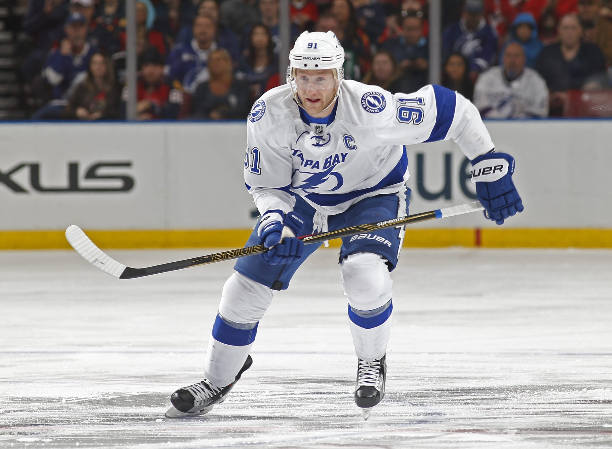 SUNRISE, FL - JANUARY 23: Steven Stamkos #91 of the Tampa Bay Lightning rushes up ice during a power play against the Florida Panthers at the BB&T Center on January 23, 2016 in Sunrise, Florida. The Panthers defeated the Lightning 5-2. (Photo by Joel Auerbach/Getty Images)