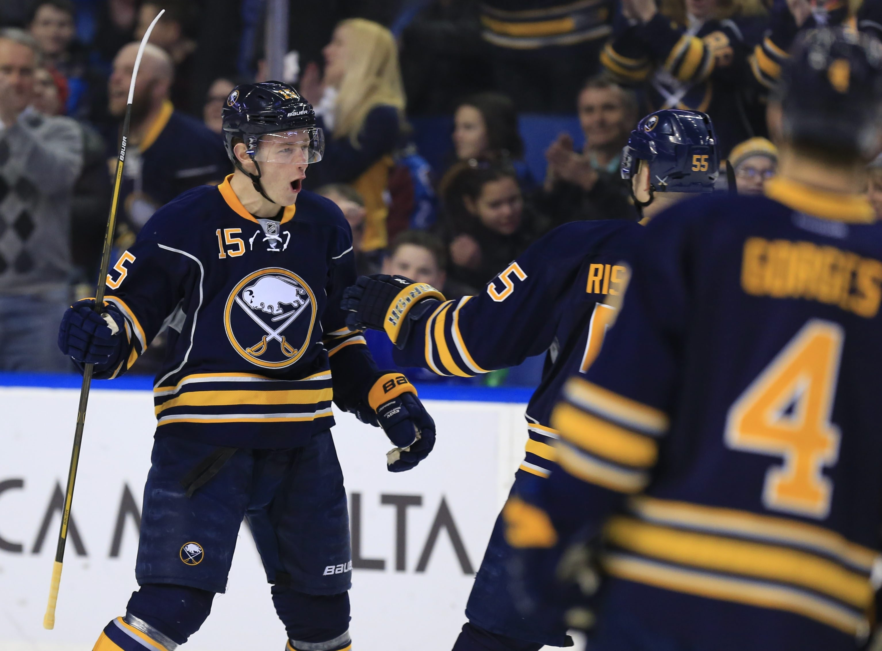 Jack Eichel celebrates after scoring on a screened shot to give the Sabres a 1-0 lead 2:02 into the first period on Sunday. Buffalo never trailed.