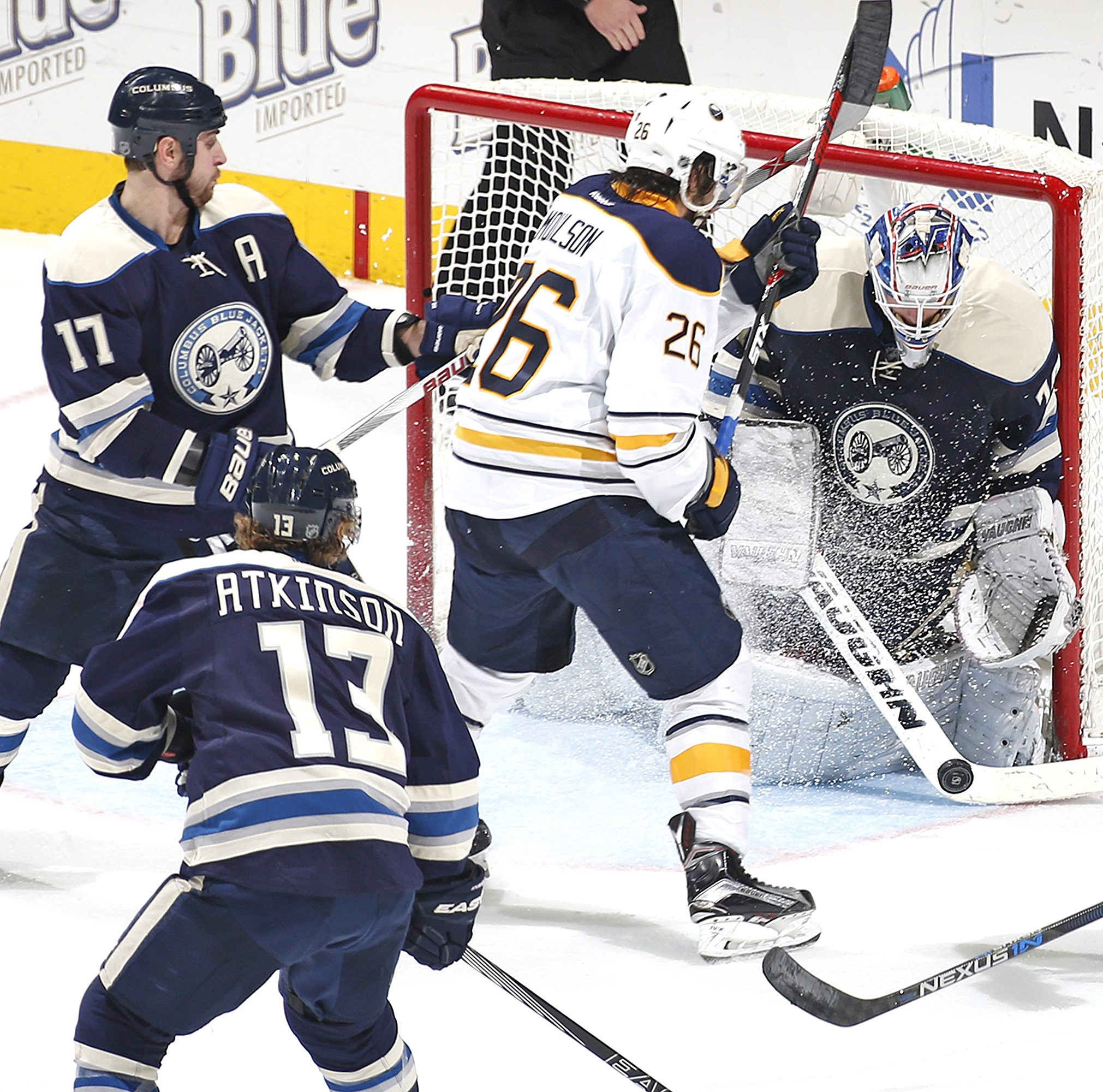 Columbus goalie Joonas Korpisalo stops a shot by the Sabres' Matt Moulson in the second period Friday.