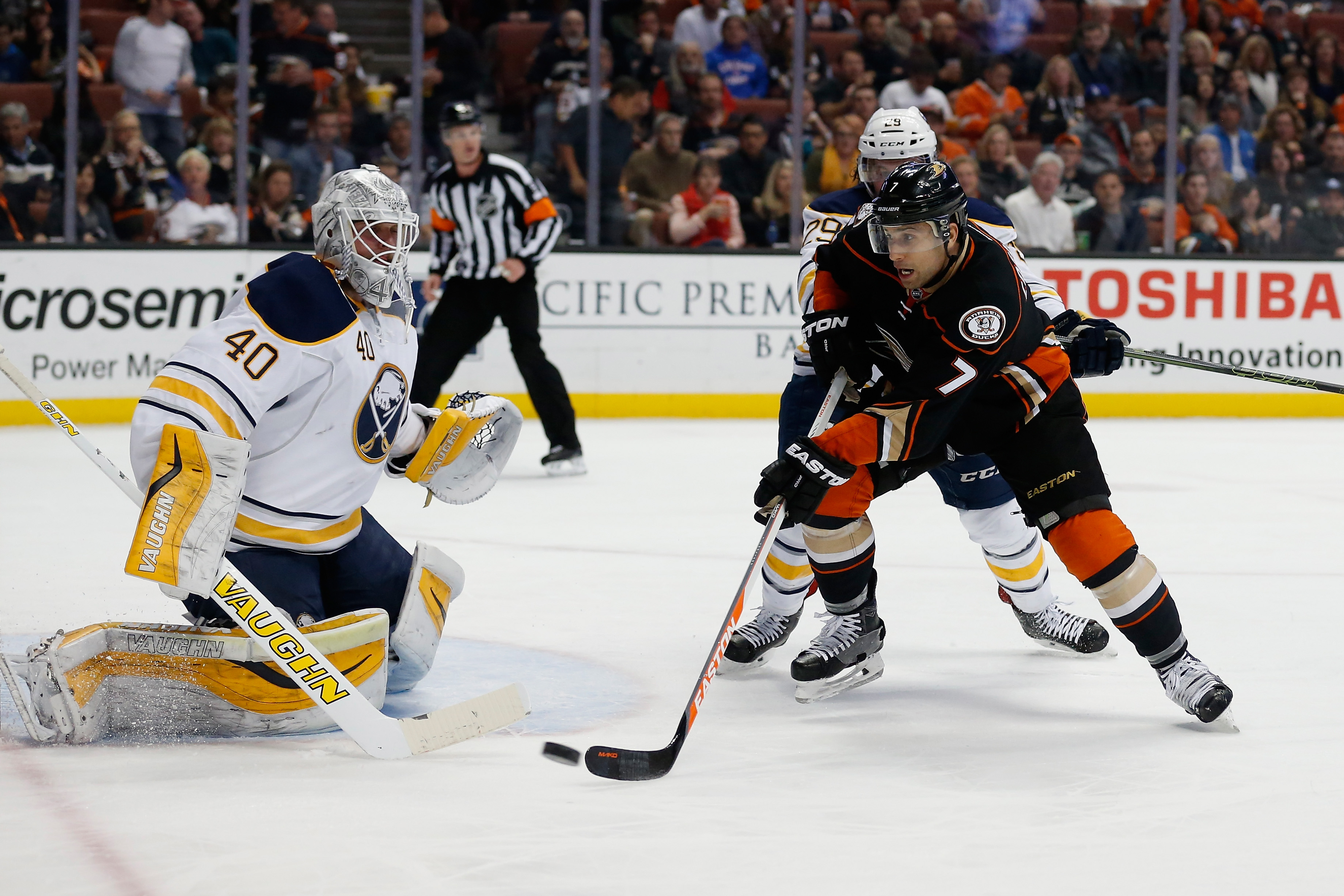 Andrew Cogliano of the Ducks is stopped by Sabres goaltender Robin Lehner (Getty Images).