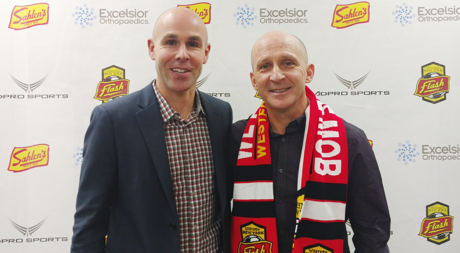 Aaran Lines, left, announced the hiring of Paul Riley, right, his replacement as Flash head coach. (via the Flash)