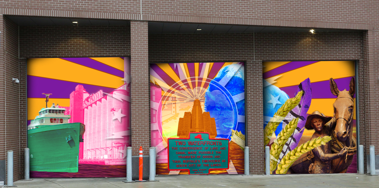 A three-panel mural by Lewiston artists Thomas Paul Asklar and Matthew Sinclair Conroy was chosen as the winner of a public art competition sponsored by HarborCenter.