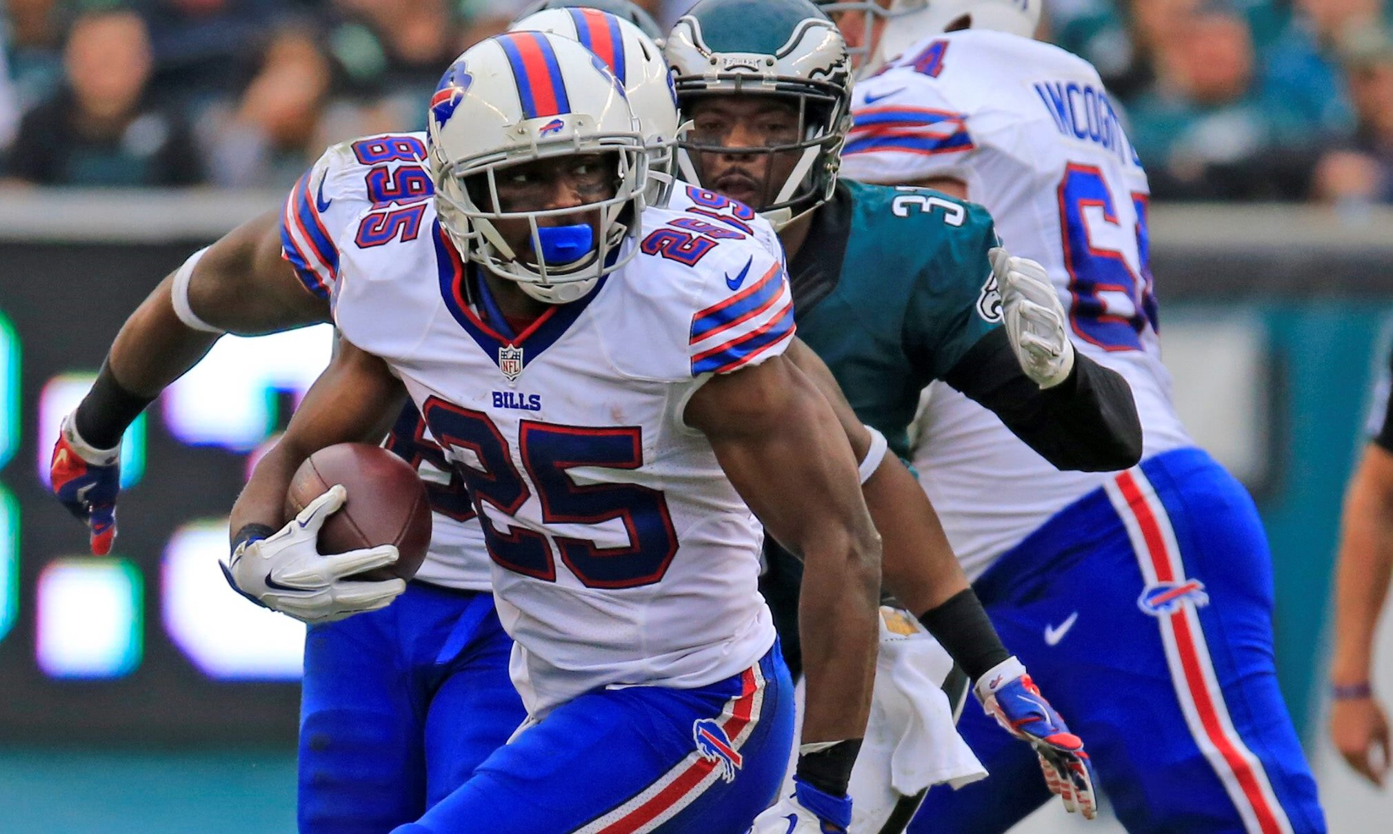 Buffalo Bills LeSean MCCoy runs against the Philadelphia Eagles during first-half action at Lincoln Financial Field on Dec. 13, 2015.	 Harry Scull Jr./Buffalo News