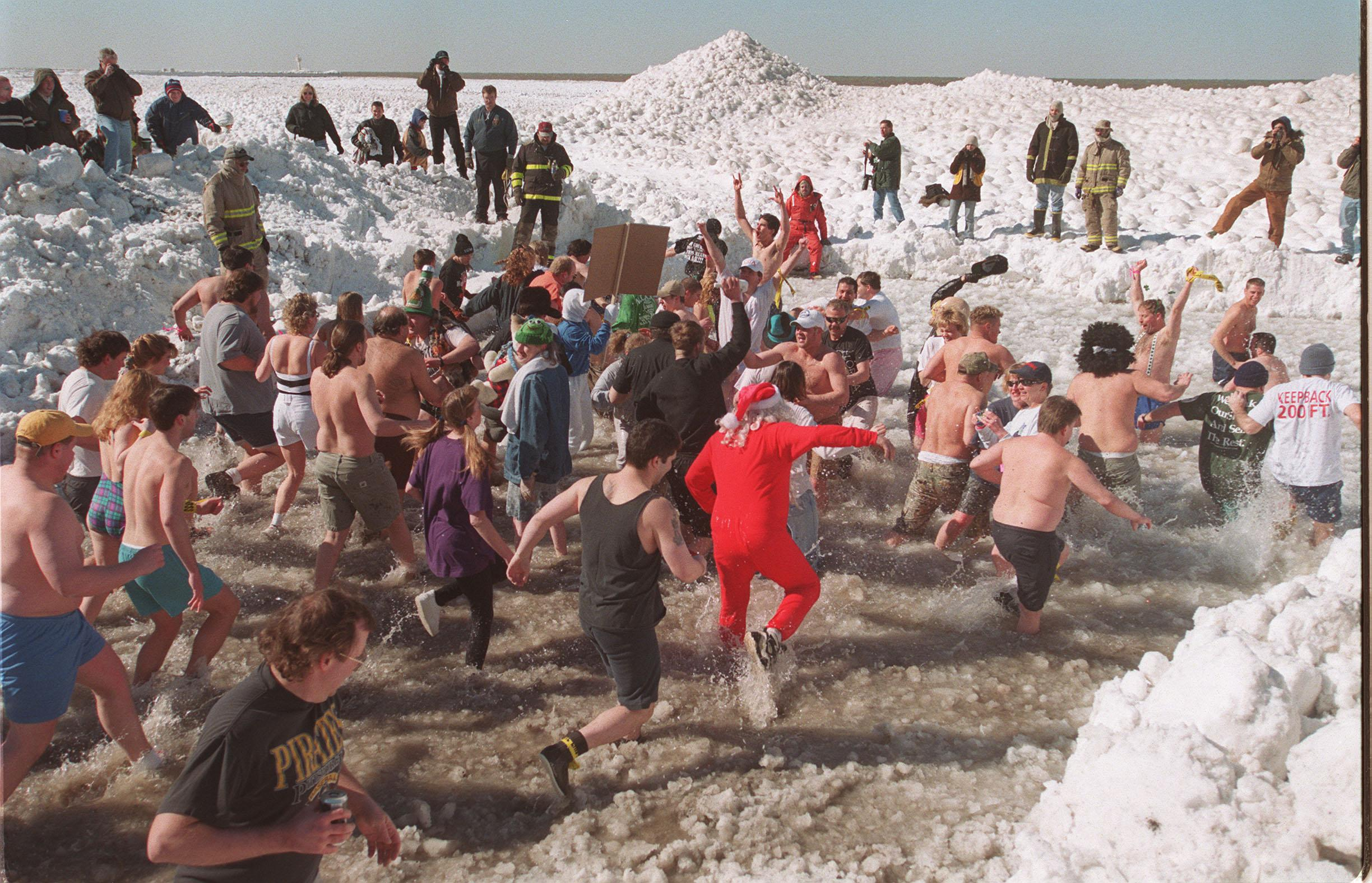 The Polar Bear Swim for Sight hits the water at 2 p.m. Sunday in Olcott, right after the Polar Bear Queen is named. (Mark Mulville/Buffalo News file photo)