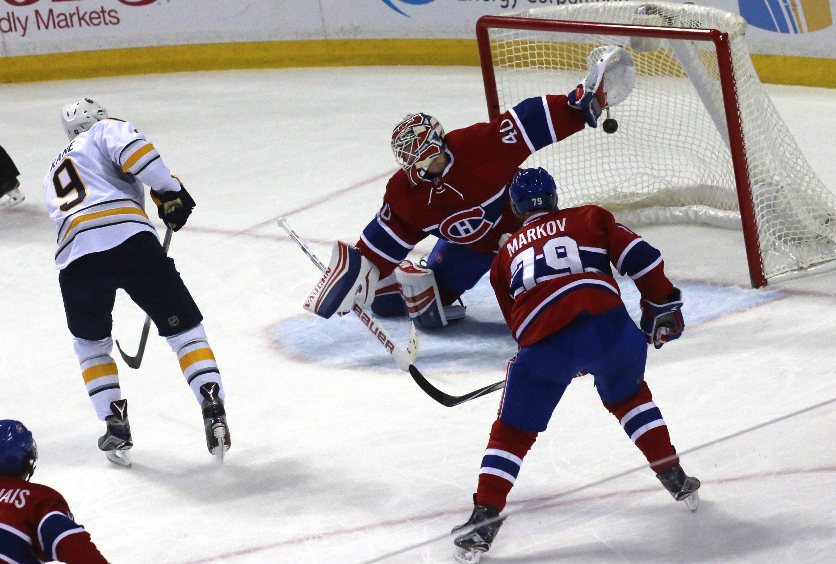 Buffalo Sabres Evander Kane (9) scores on Montreal Canadien's goalie Ben Scrivens (40)  at  First Niagara Center  on  Feb. 12, 2016.  (John Hickey/Buffalo News)