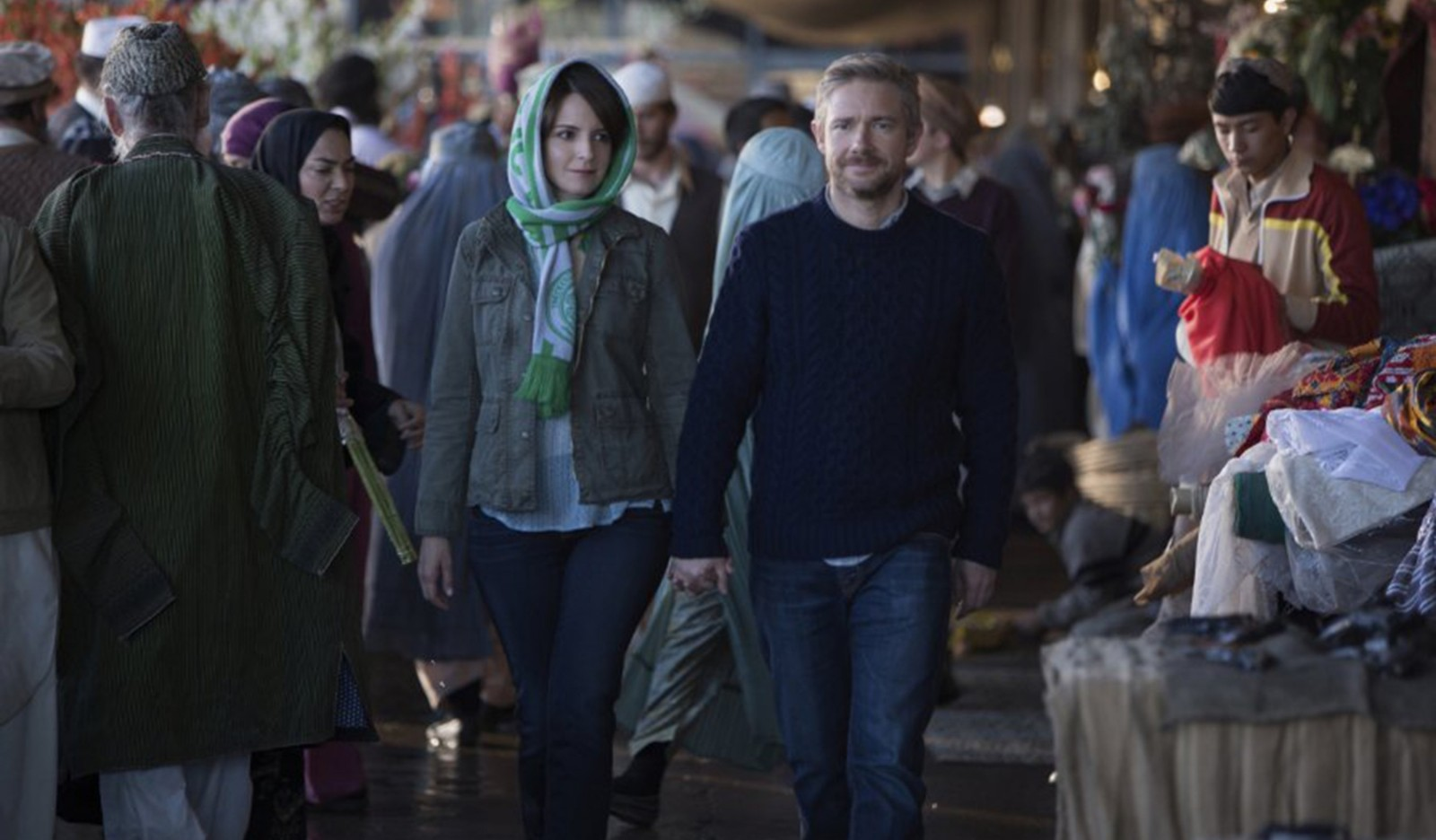 "Tina Fey and Martin Freeman star in ""Whiskey Tango Foxtrot."""