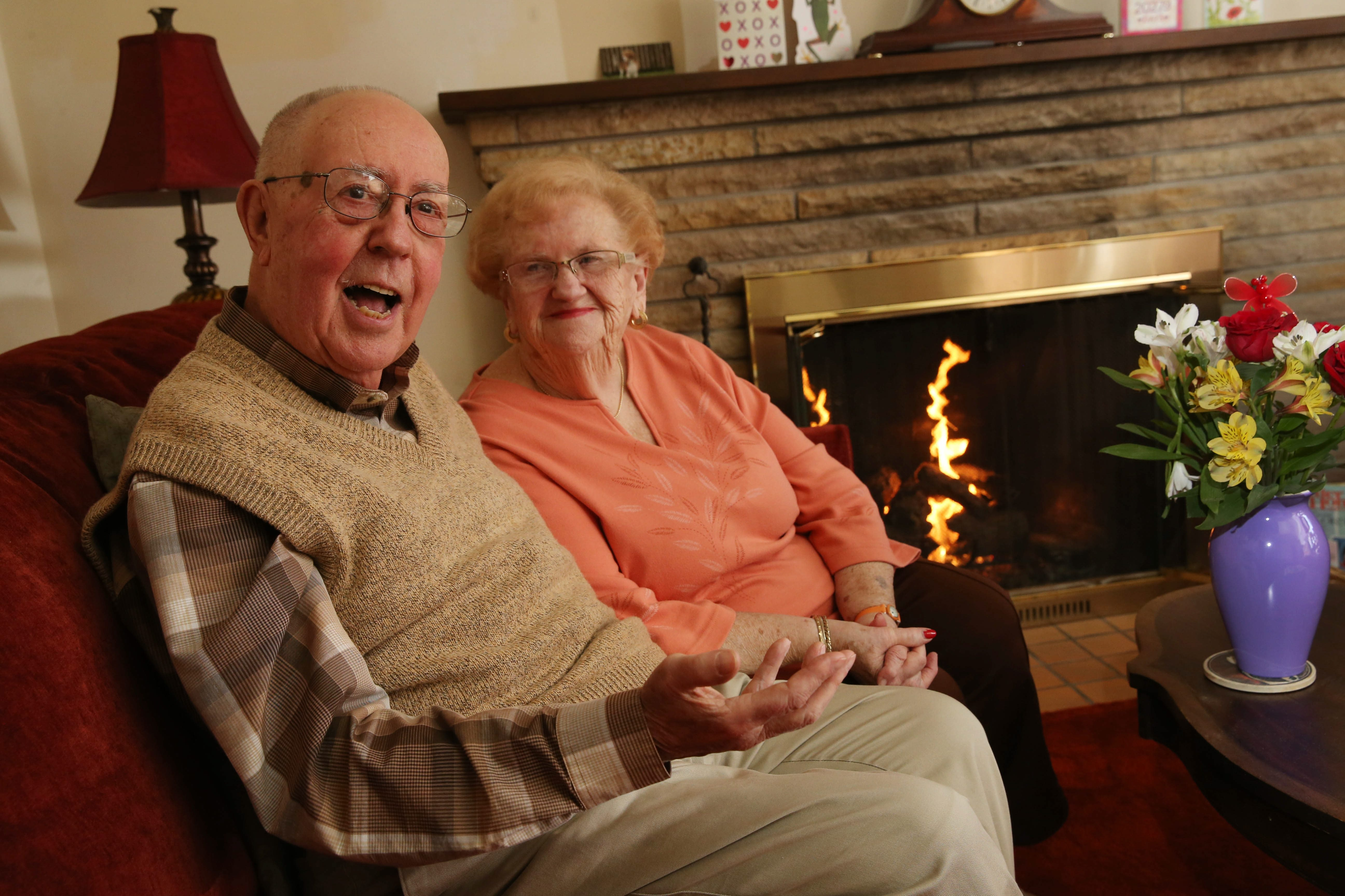 Doug Smith and his wife, Polly, at their Grand Island home. The couple is leaving the area to be closer to their daughter in Cortland.