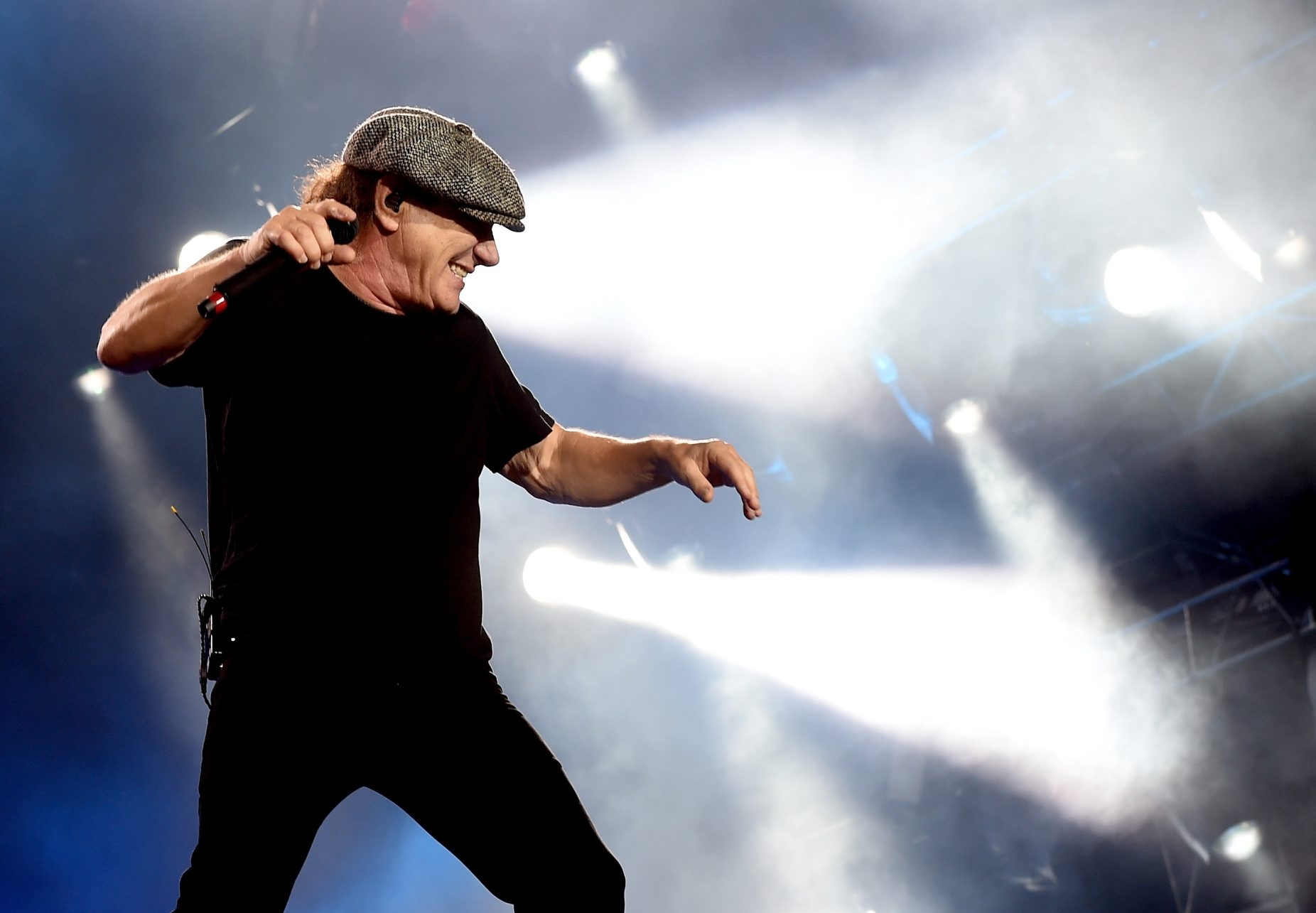"""Singer Brian Johnson of AC/DC has been advised by doctors to """"stop touring immediately or risk total hearing loss."""" (Getty Images)."""