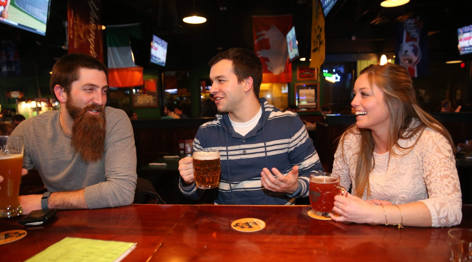 Hanging out at MacGregor's, from left, are Scott Goodheart of Collins, Mike Duino of Hamburg and Scott's sister Christie Goodheart of Springville. (Sharon Cantillon/Buffalo News)