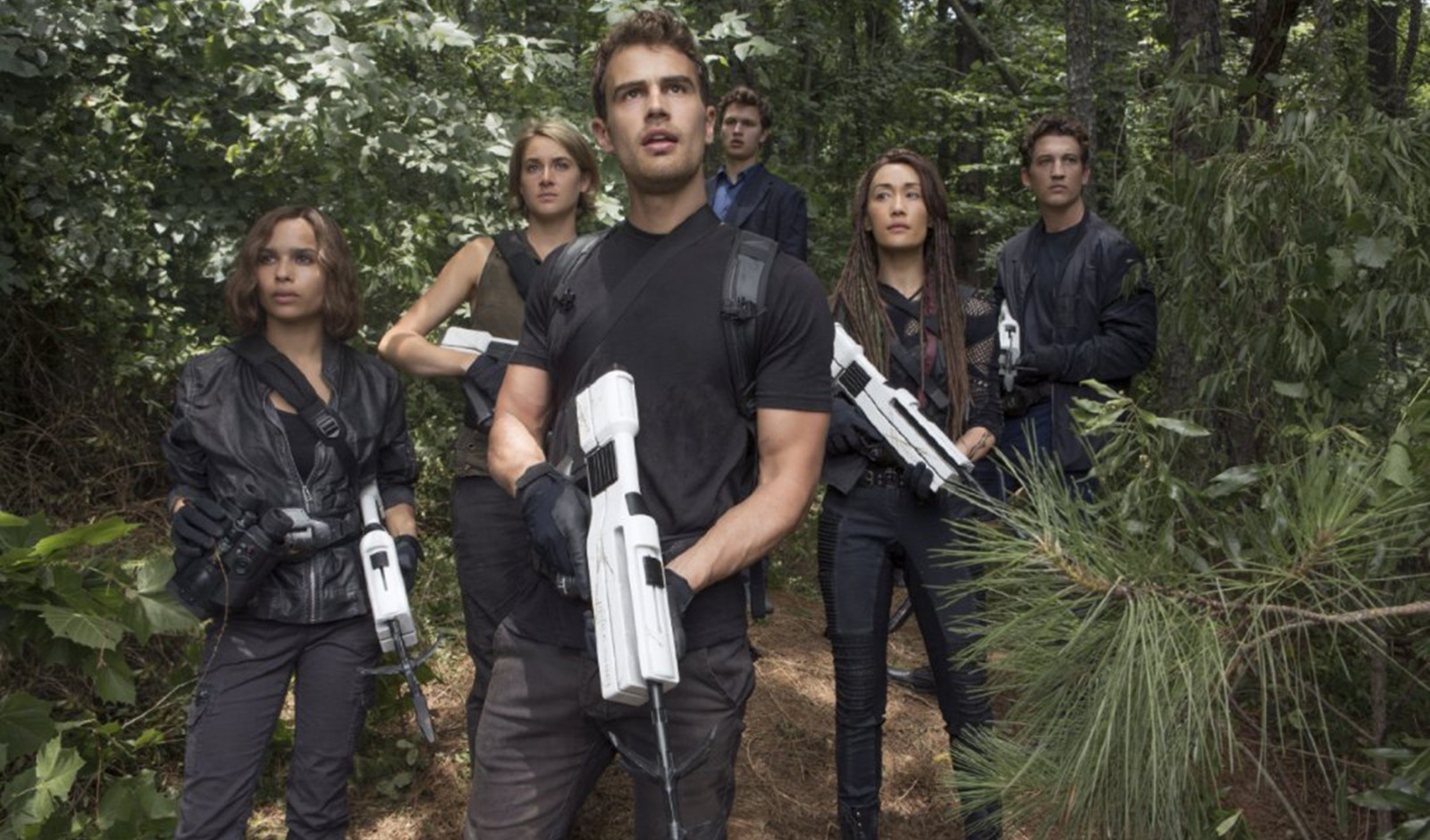 """Zoe Kravitz, Shailene Woodley, Theo James, Ansel Elgort, Maggie Q and Miles Teller star in  """"The Divergent Series: Allegiant,"""" the third of four films in the series."""
