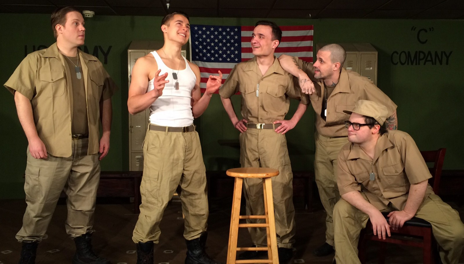 Bryan Patrick Stoyle, left, Jordan Rosas, Jeremy Kreuzer, Jay Wollin and Ian Rawlins are featured in a Desiderio's Dinner Theatre production of 'Biloxi Blues,' running through May 15.
