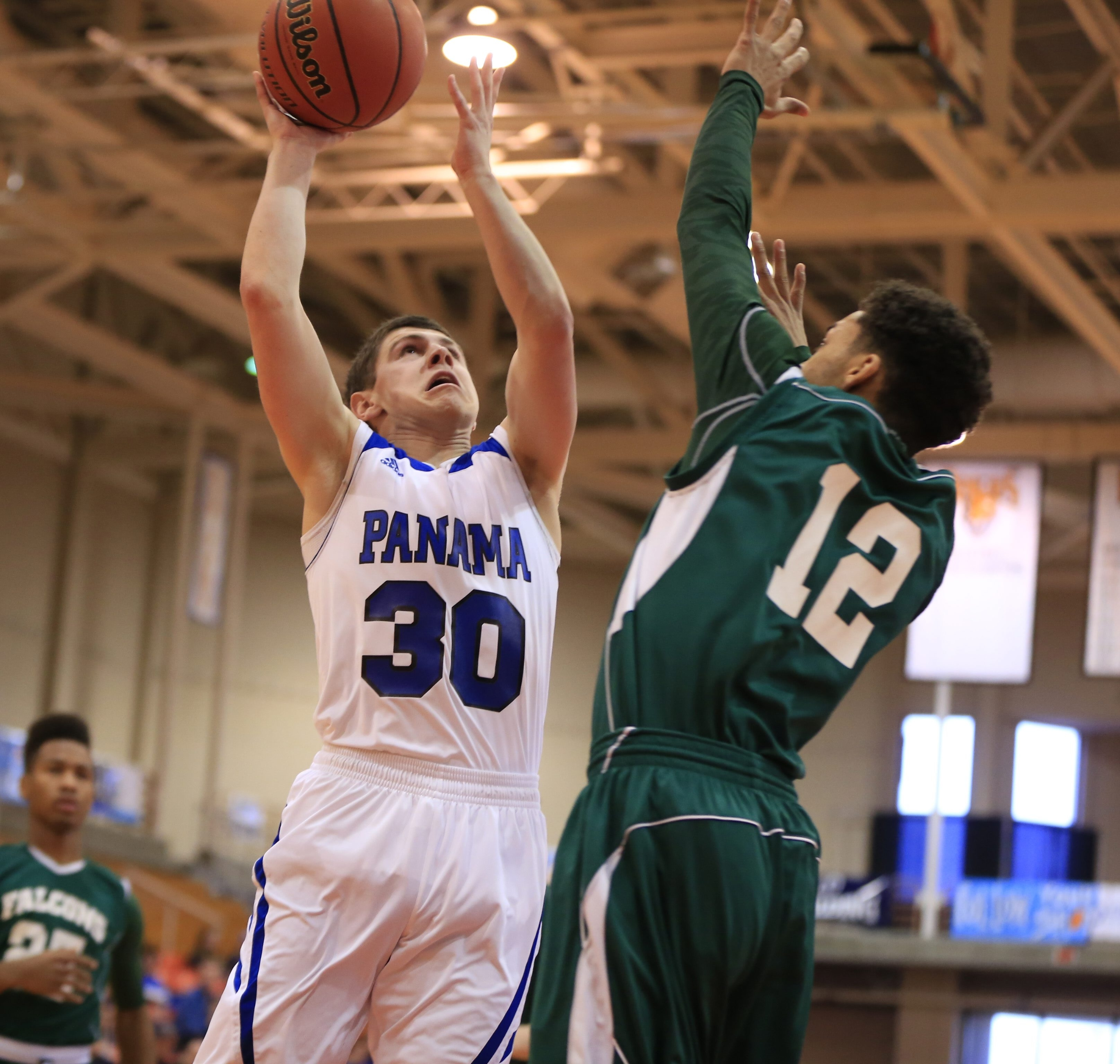 Panama's Josh Odell goes for two of his 22 points in a Far West Regional win over C.G. Finney.